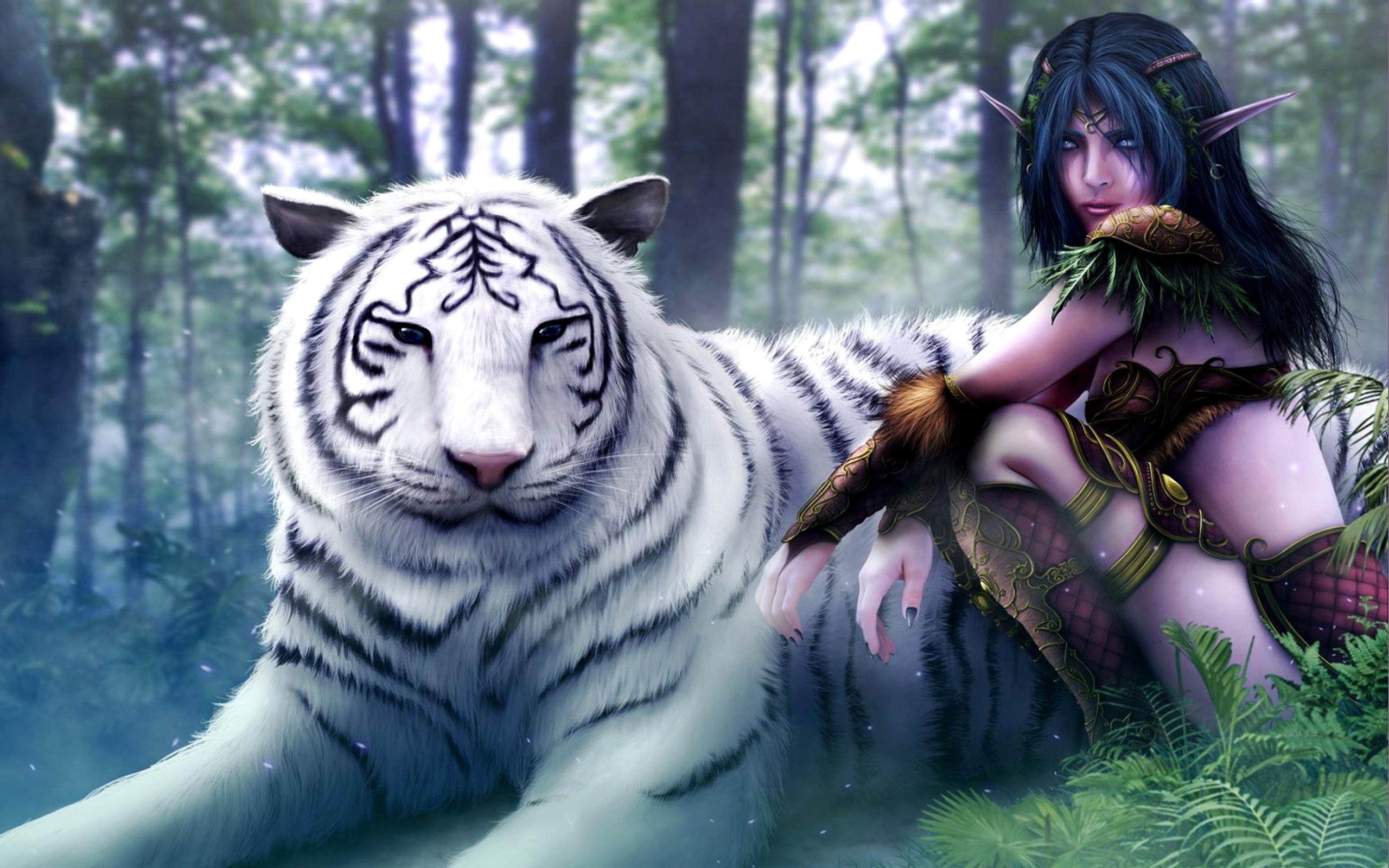 Papeis De Parede Assistente De Menina Com O Tigre Branco 2560x1600