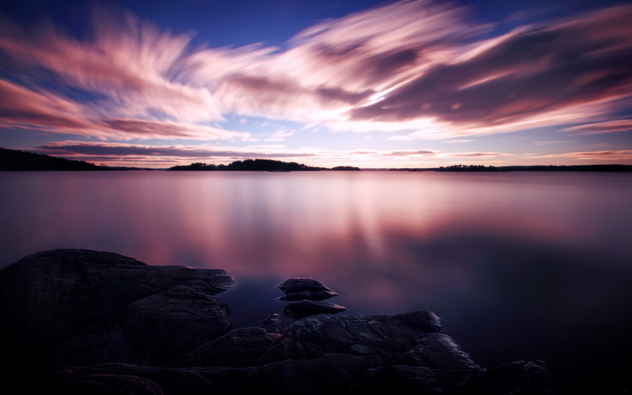 Wallpaper Purple Sunset White Clouds In The Sky Lake Water 2560x1600 Hd Picture Image