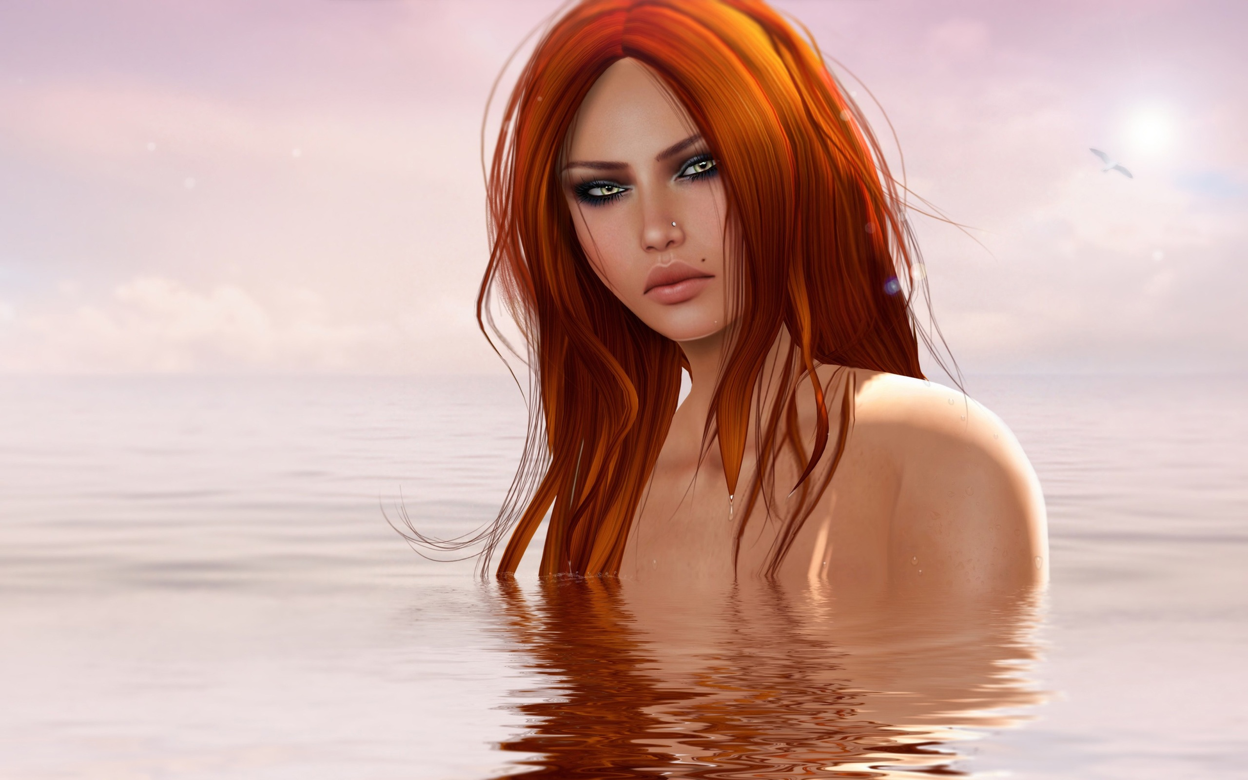 The red-haired fantasy girl in water Wallpaper - 2560x1600