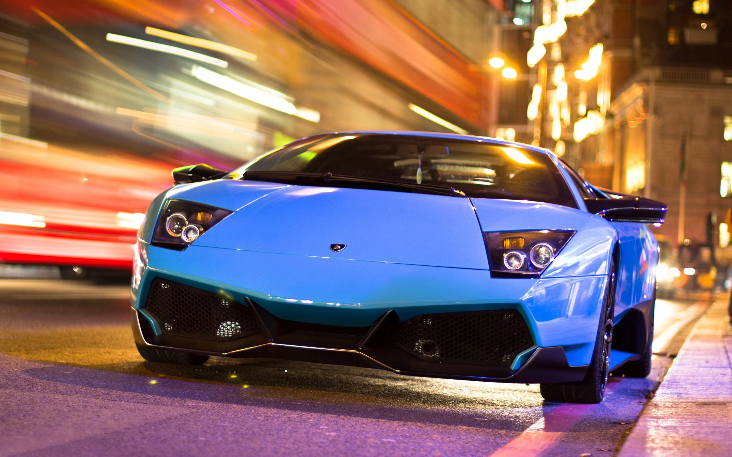 Wallpaper Lamborghini Blue Car In The City Night Road 2560x1600 Hd