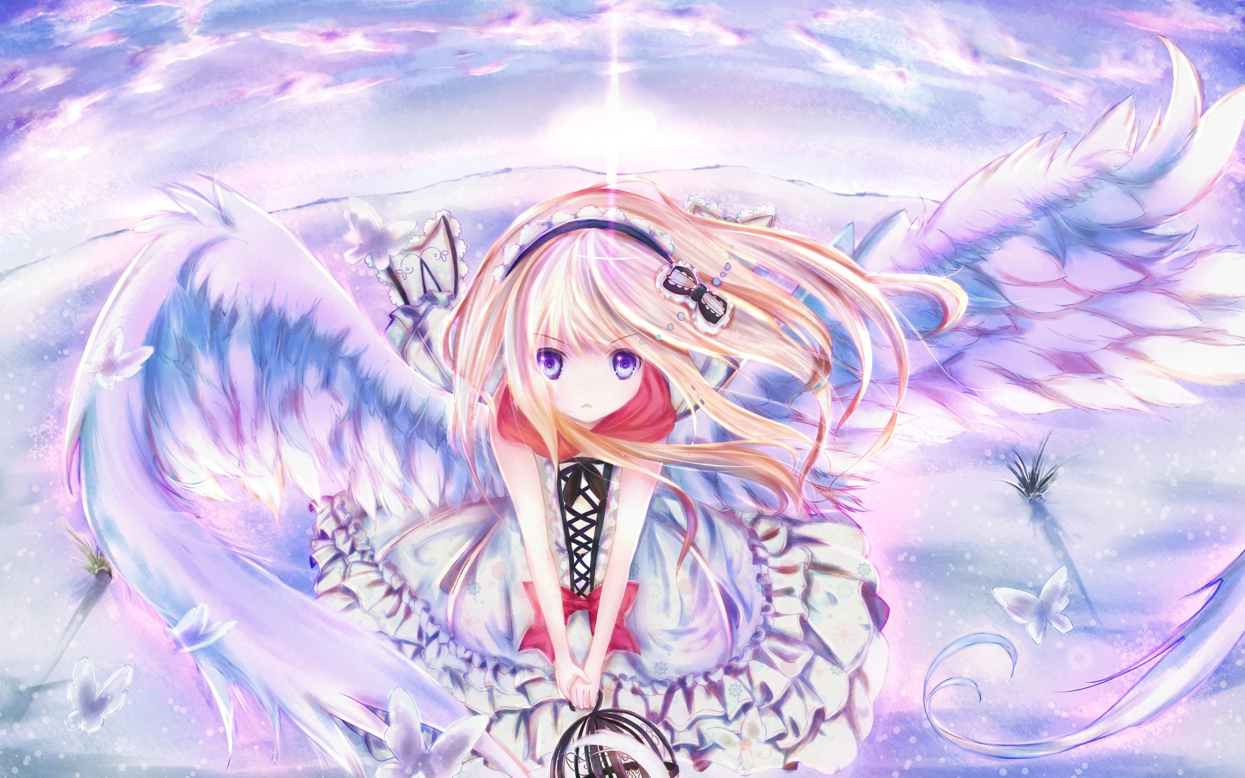 Wallpaper Anime Girl Wings Sky Flying Butterfly Hairpin 2560x1600