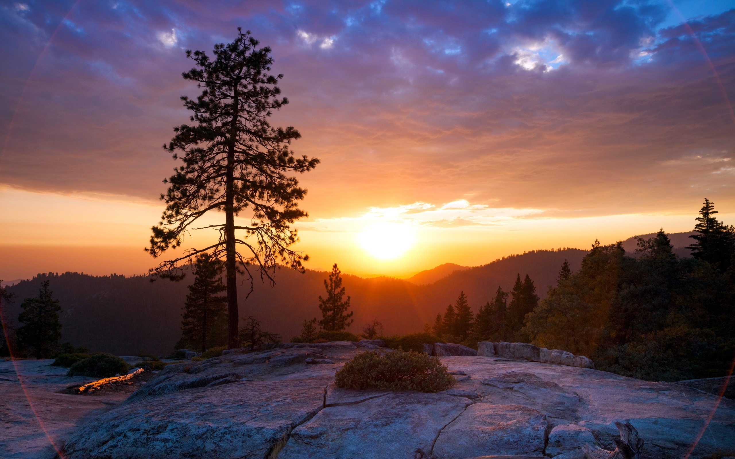 Wallpaper Sunrise On The Hill Beautiful Scenery 2560x1600 Hd