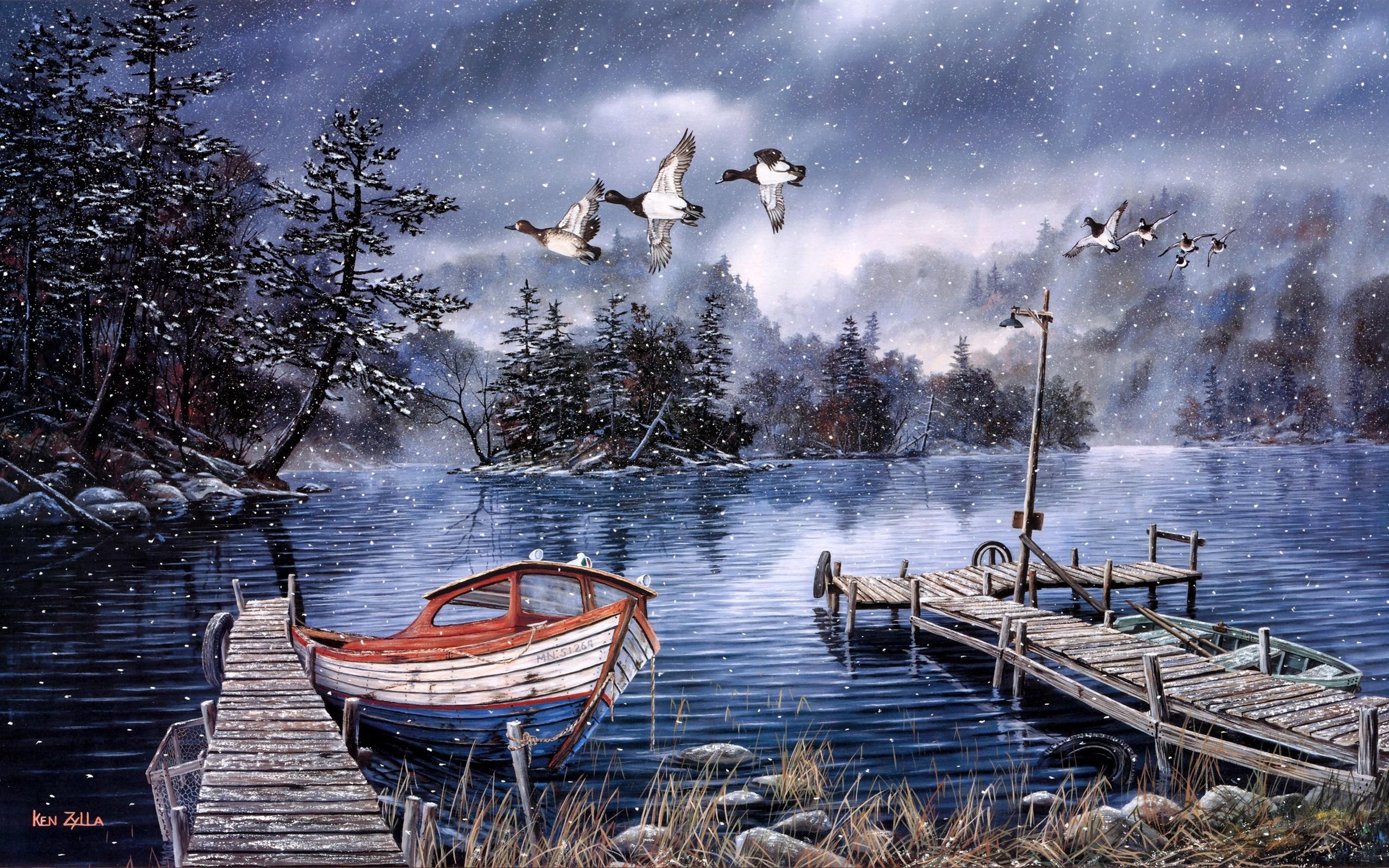 桌布 水彩画,湖泊和森林,雪的冬天,码头,鸭,船图片