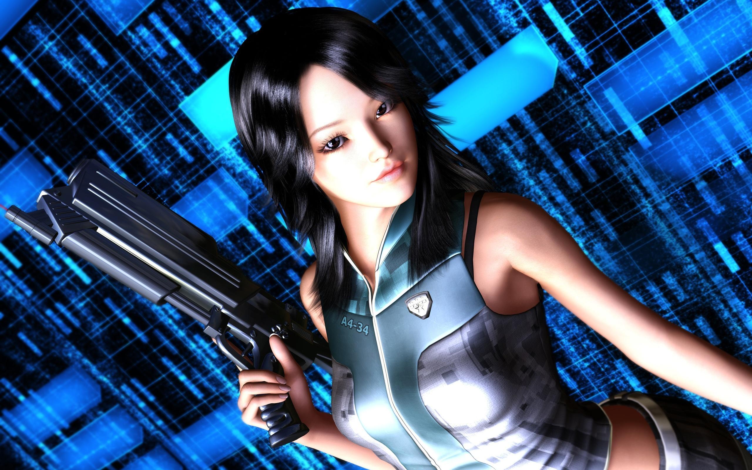 Wallpaper 3d Asian Girl Black Hair Hold A Gun 2560x1600