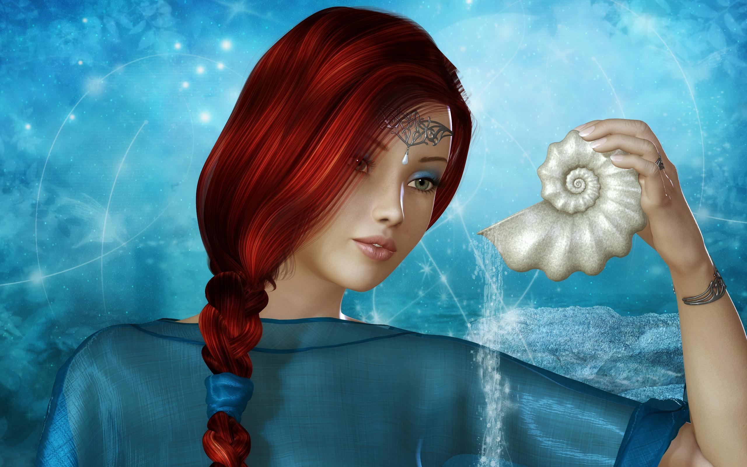 壁紙 美しい茶色の髪のファンタジー女の子、青いドレス 2560x1600 HD 無料のデスクトップの背景, 画像