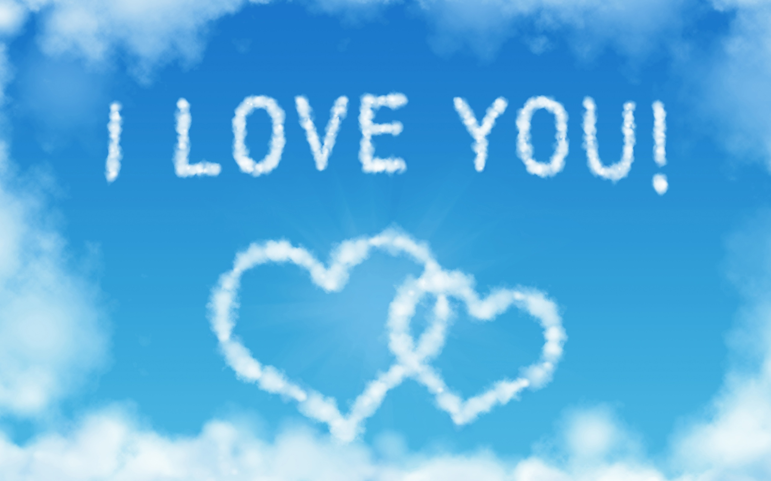 wallpaper i love you, heart-shaped clouds in the blue sky 2560x1600