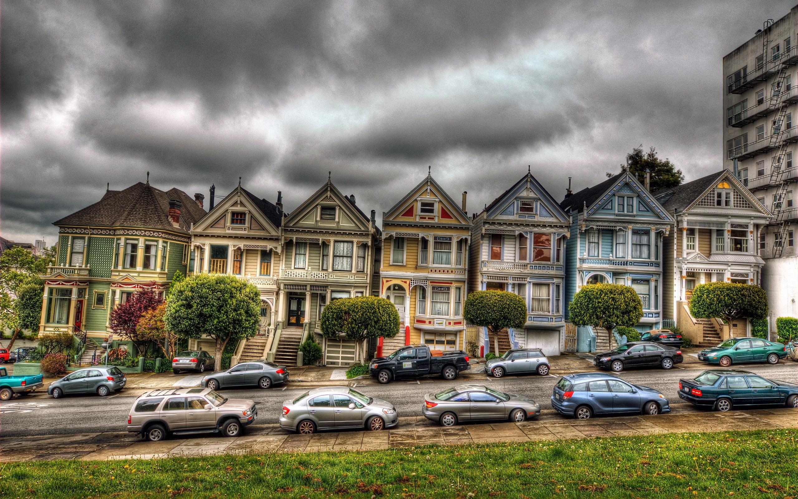 배경 화면 샌프란시스코, 빅토리아, 집, 자동차, 흐린 하늘 2560x1600 HD 그림, 이미지