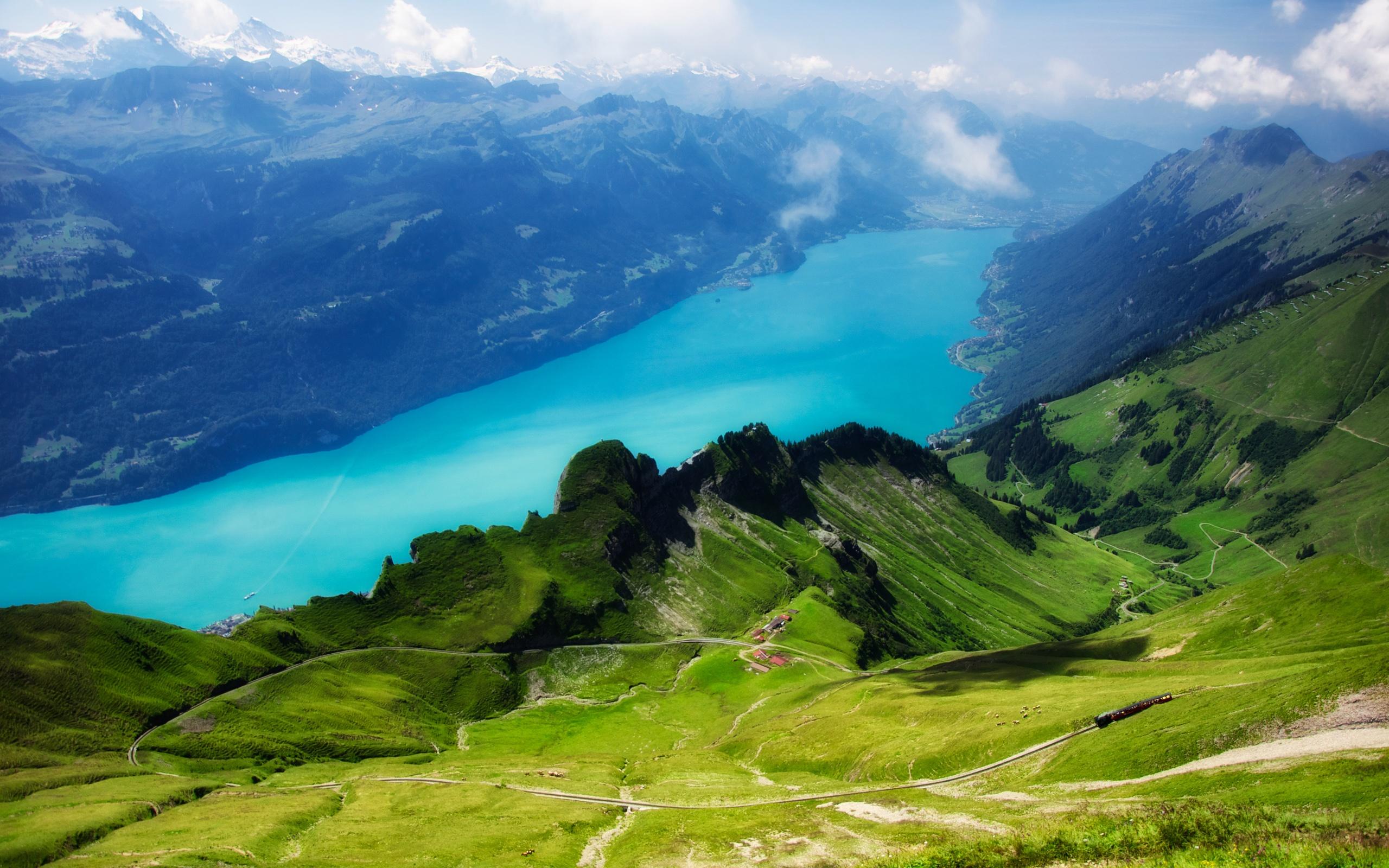 Швейцария Горы река деревья трава  № 184008  скачать
