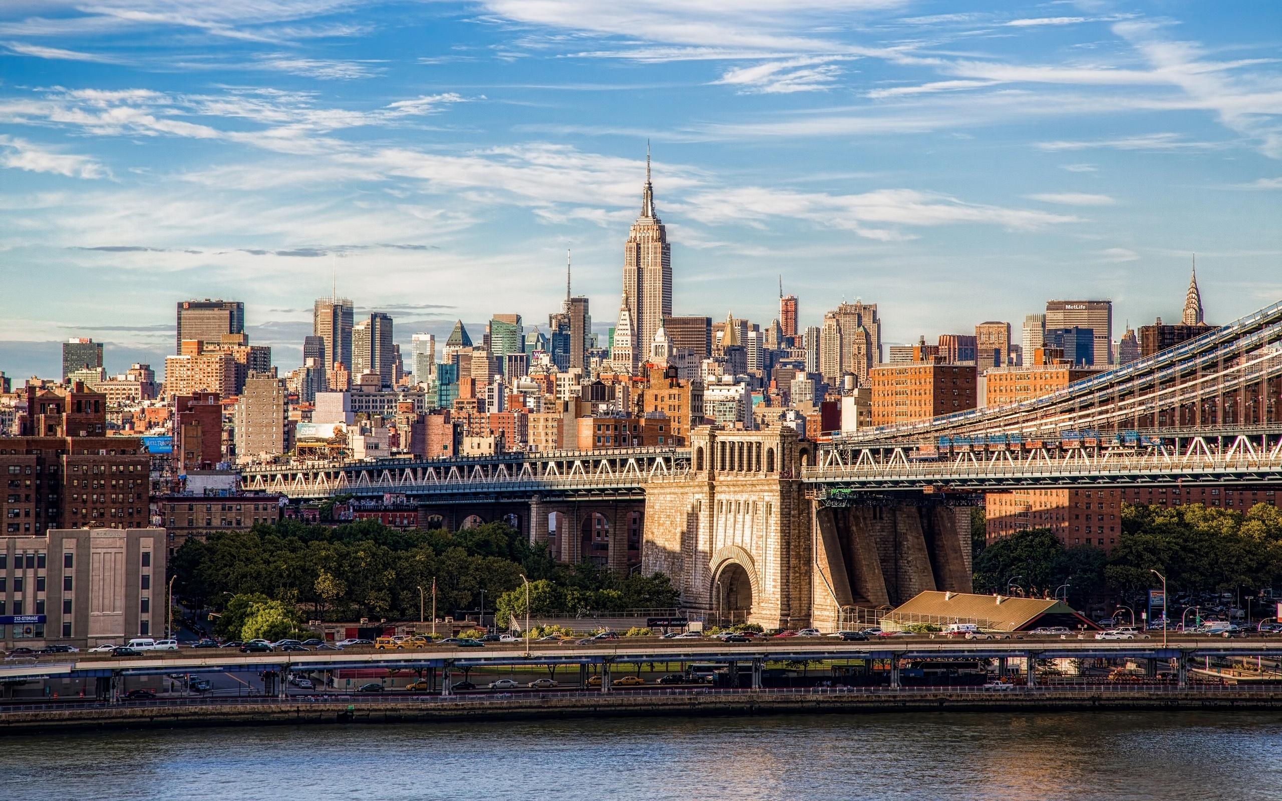страны архитектура Бруклинский мост река ночь США Нью-Йорк загрузить