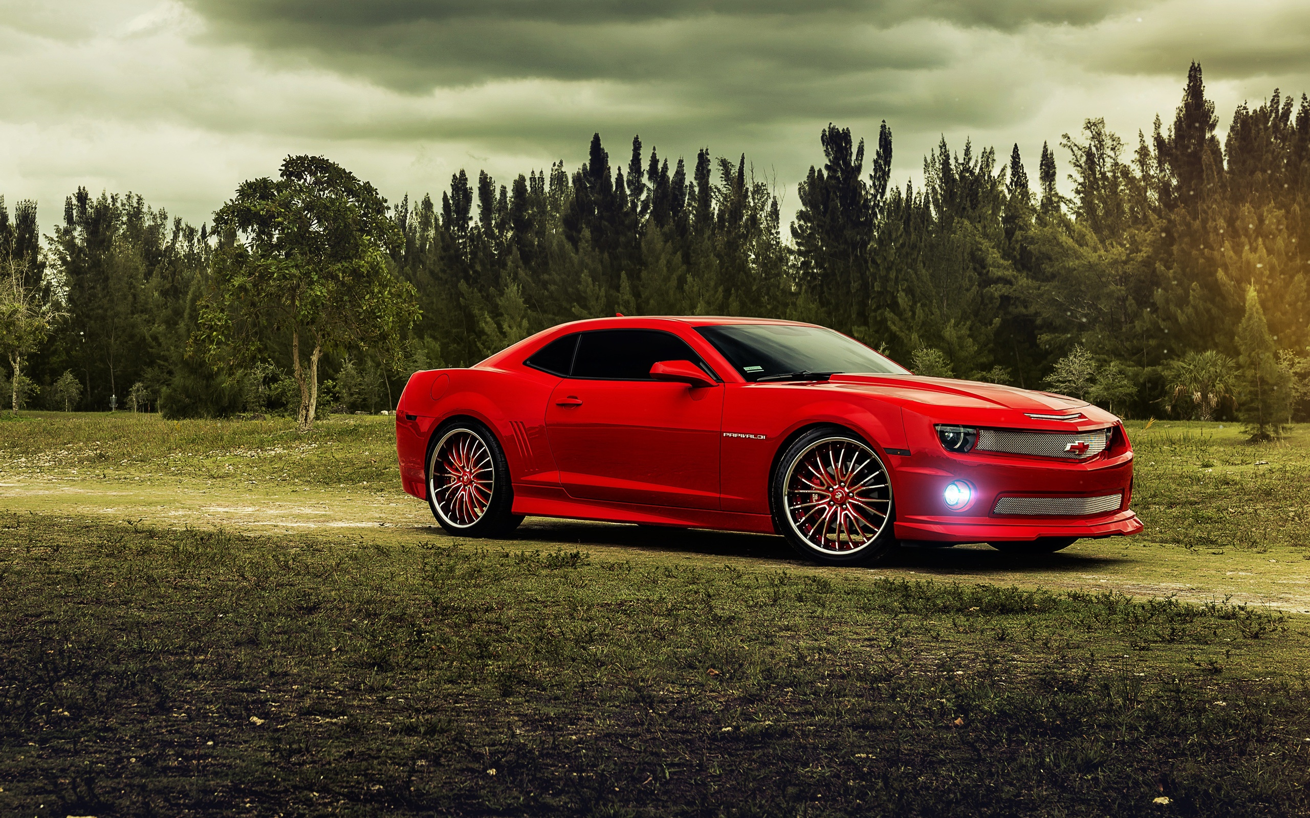 chevrolet camaro red muscle car trees clouds wallpaper