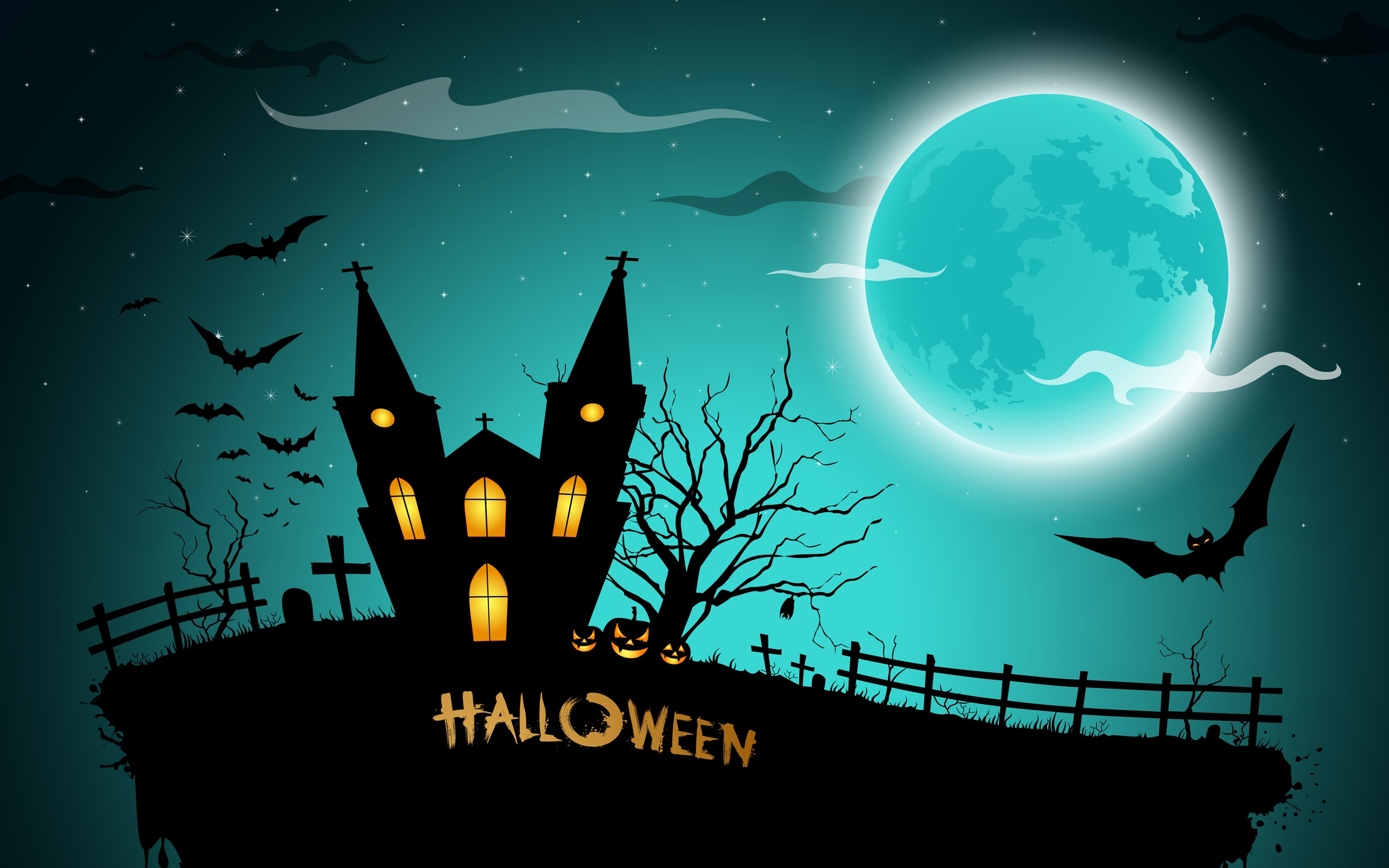 halloween gruselig mitternacht k rbisse flederm use haus vollmond 2560x1600 hd. Black Bedroom Furniture Sets. Home Design Ideas