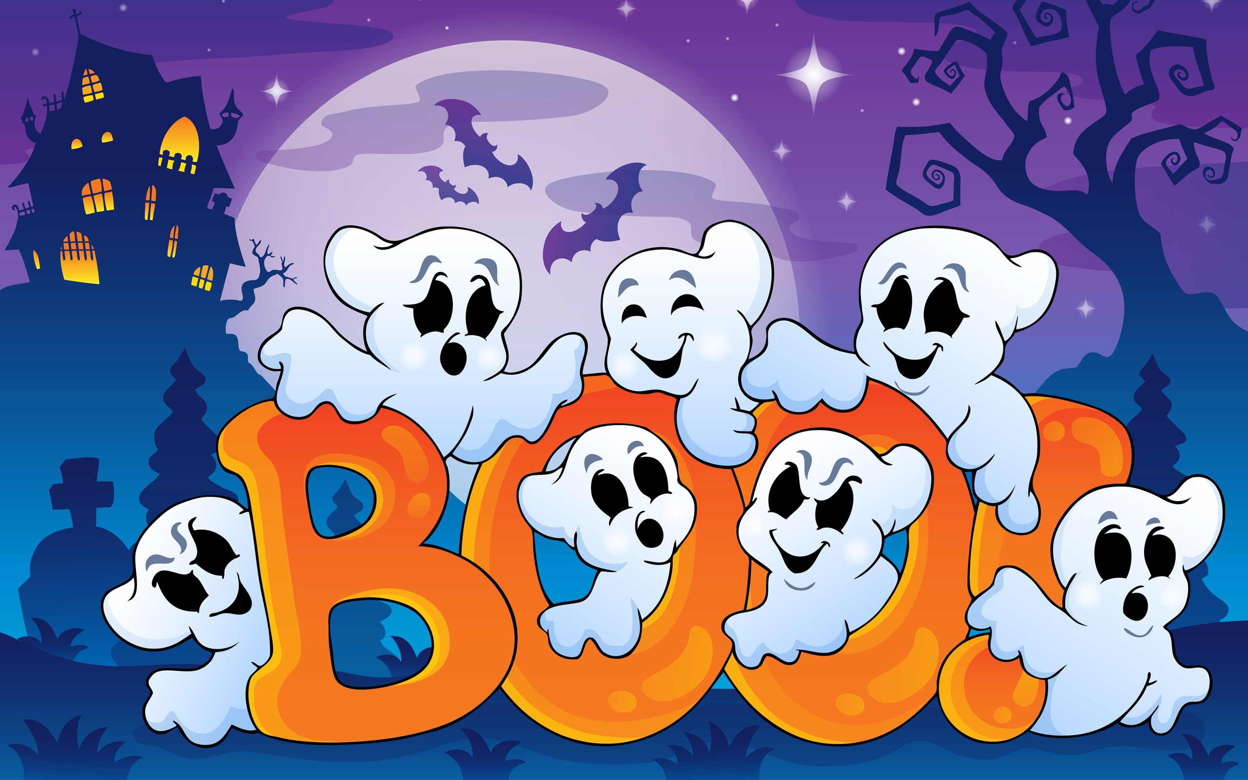 Fun Cute Kawaii Cartoon Ghost Saying Boo Room Decal Zazzle. Halloween,  Geister Lustig, Gruselig Haus, Voller Mond, Vektor Grafiken Hinter.