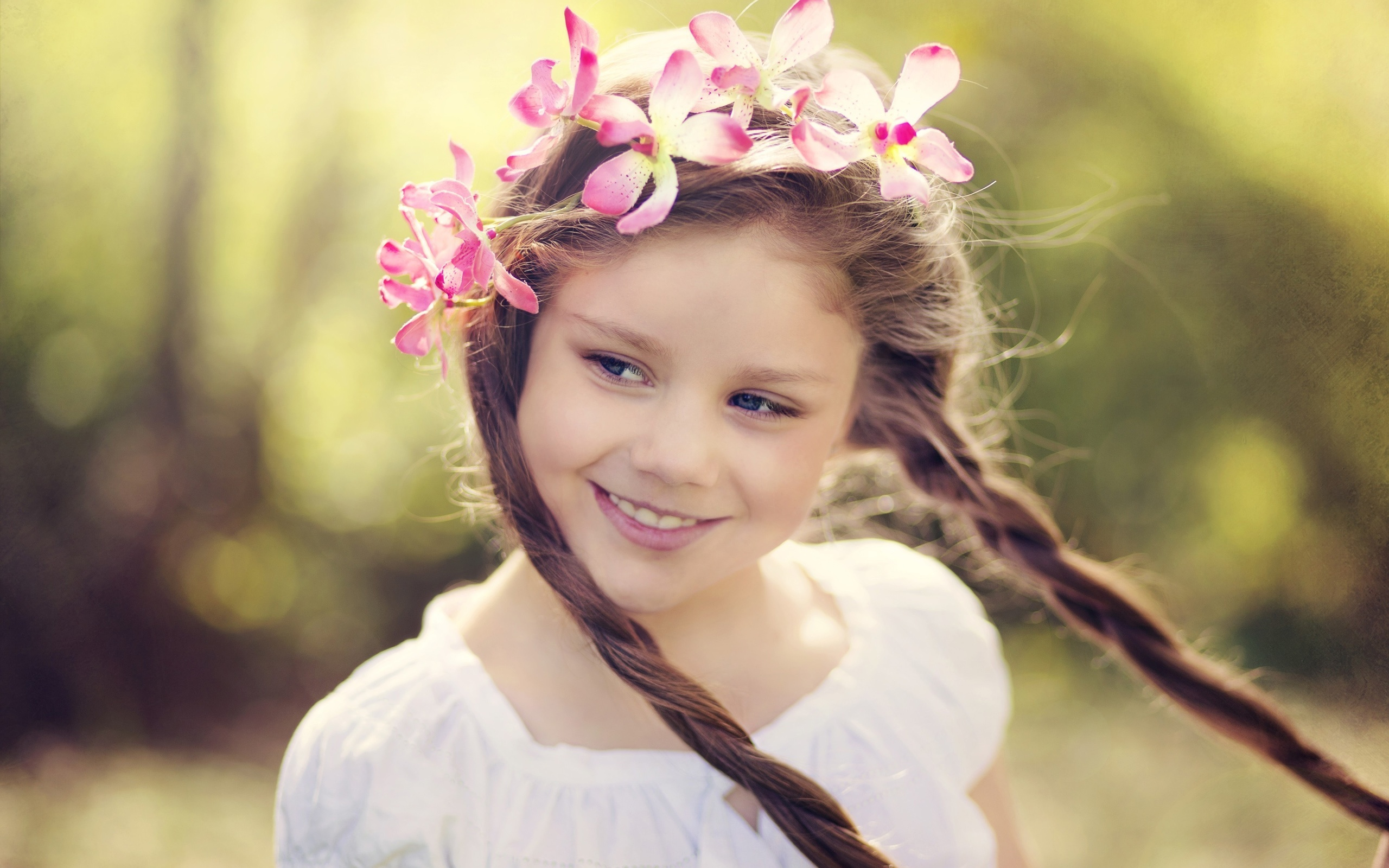 Wallpaper smile little girl flower wreath 2560x1600 hd picture image download this wallpaper izmirmasajfo