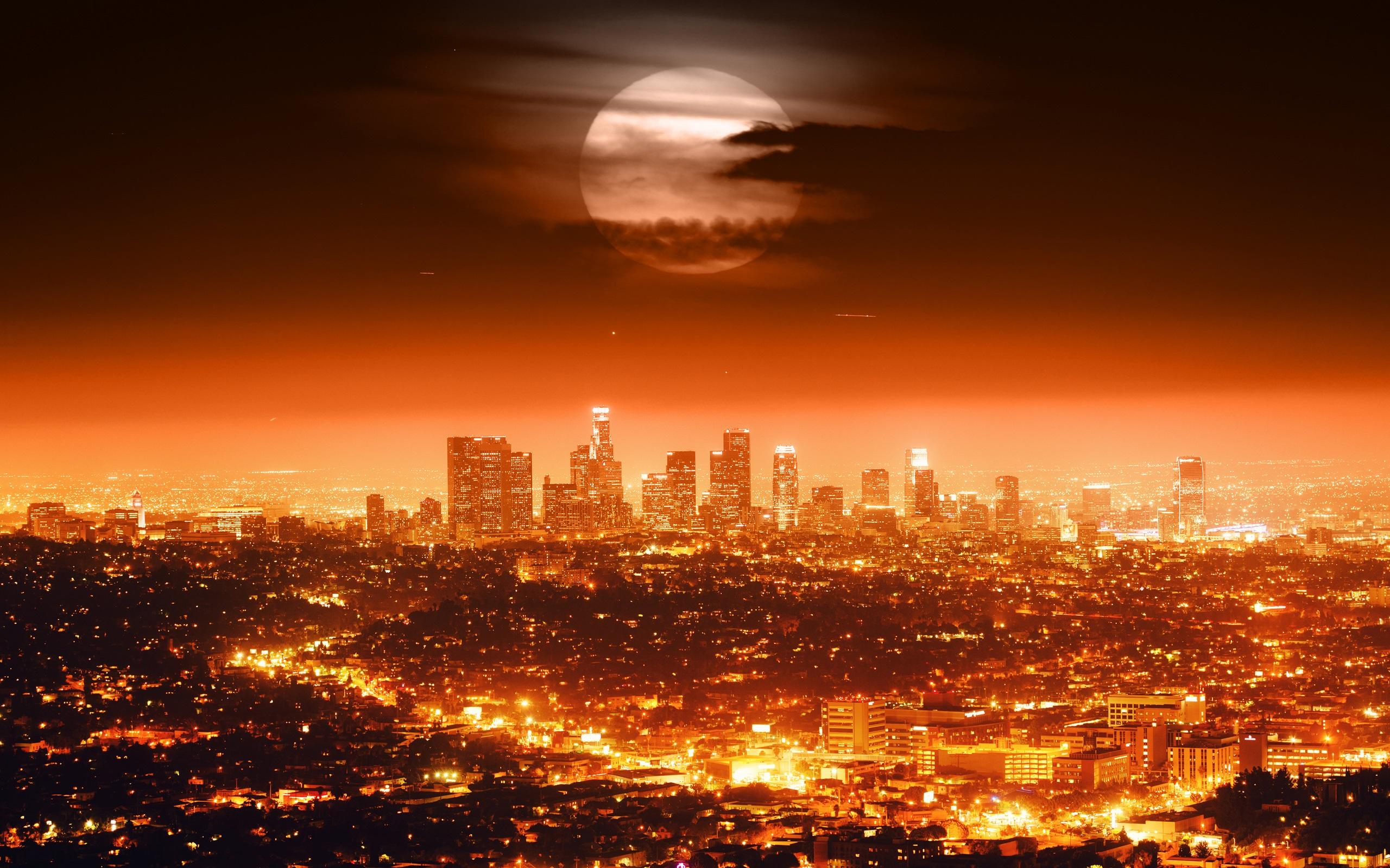 Vollmond Usa Los Angeles Nacht Stadt Lichter