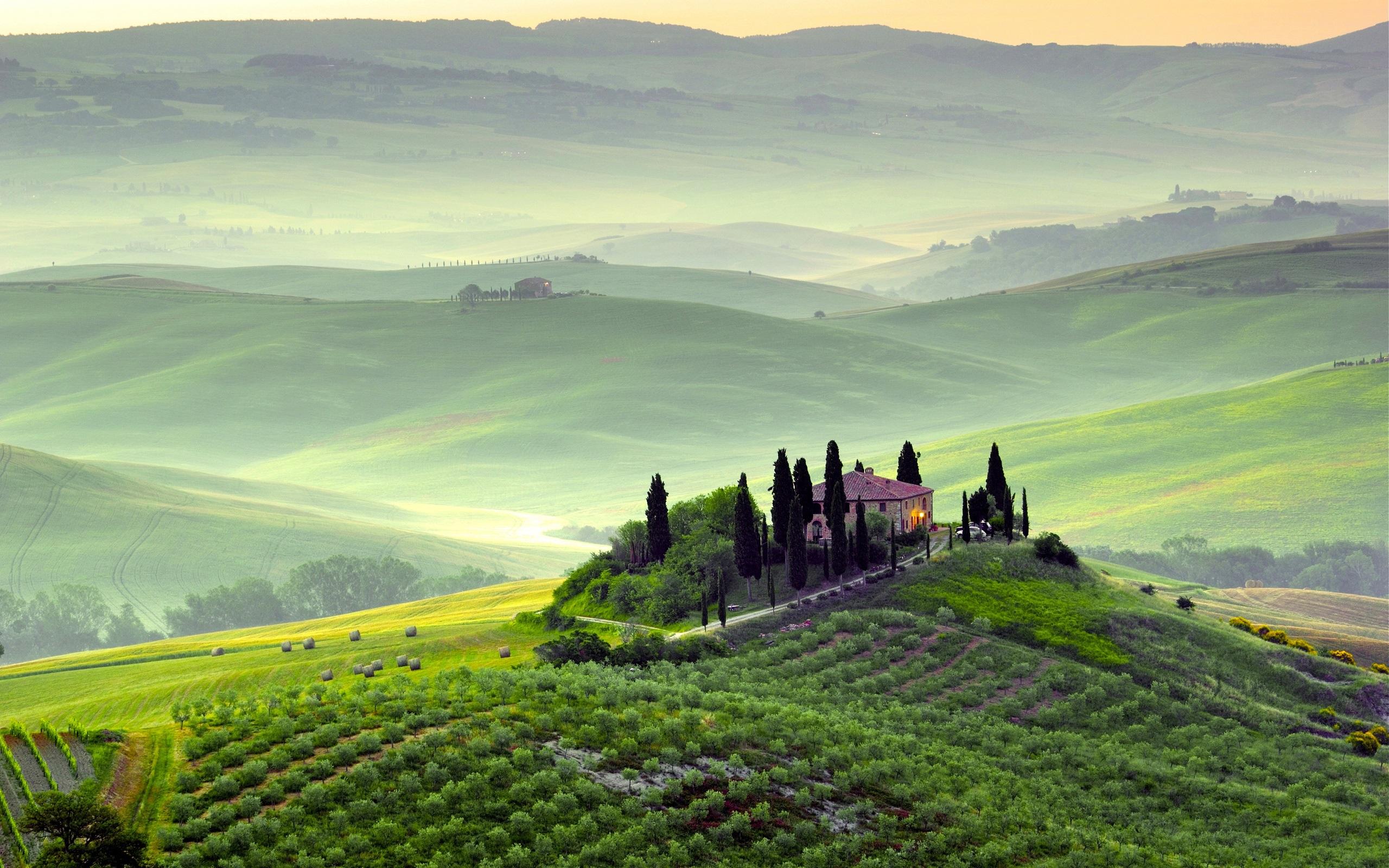 Pienza Italy  City pictures : Pienza, Toskana, Italien, Frühling Landschaft, Felder, Bäume, Morgen ...