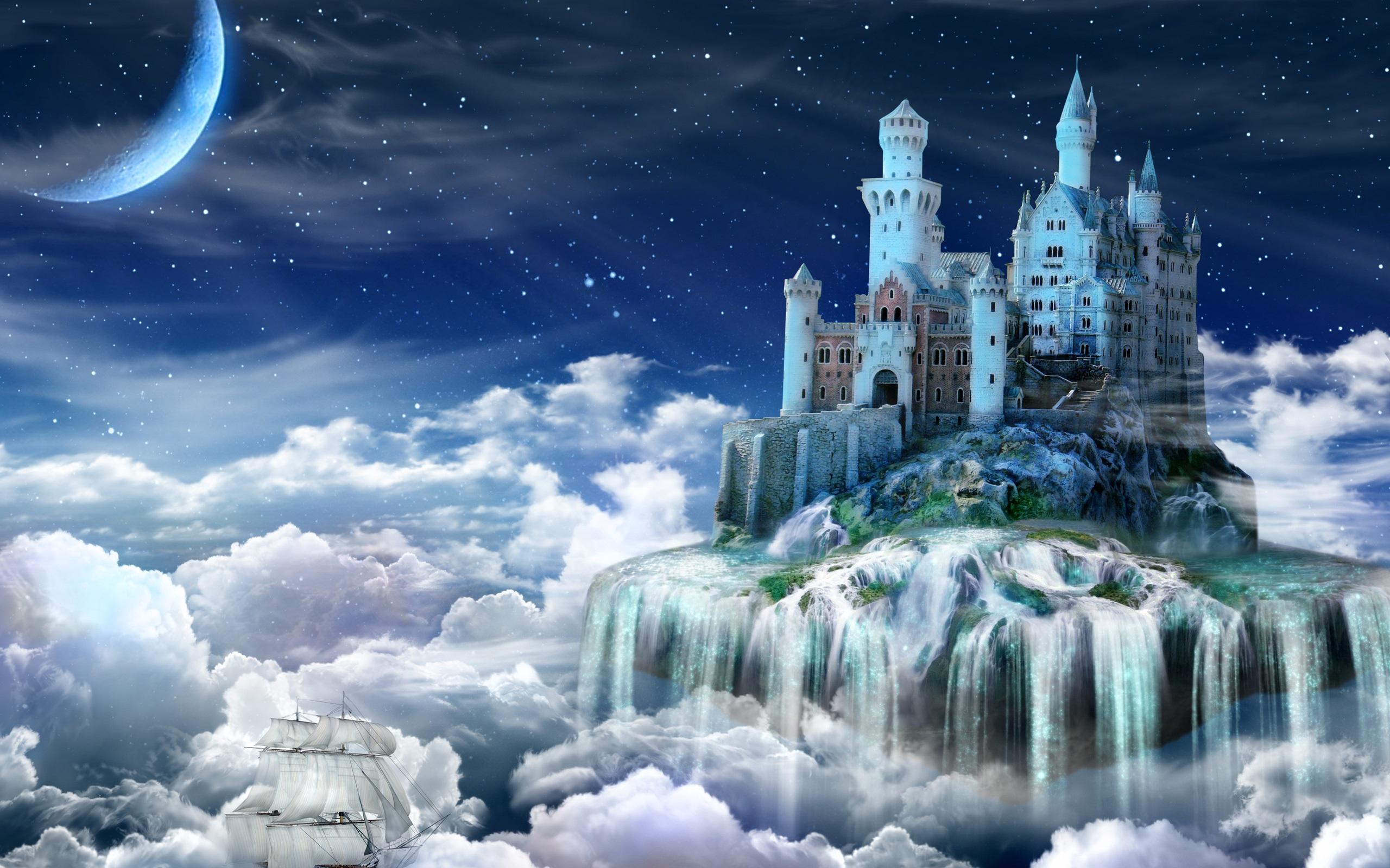 首页 创意和图形 夜晚,城堡,童话故事,云,创意设计 壁纸 / 2560x1600图片