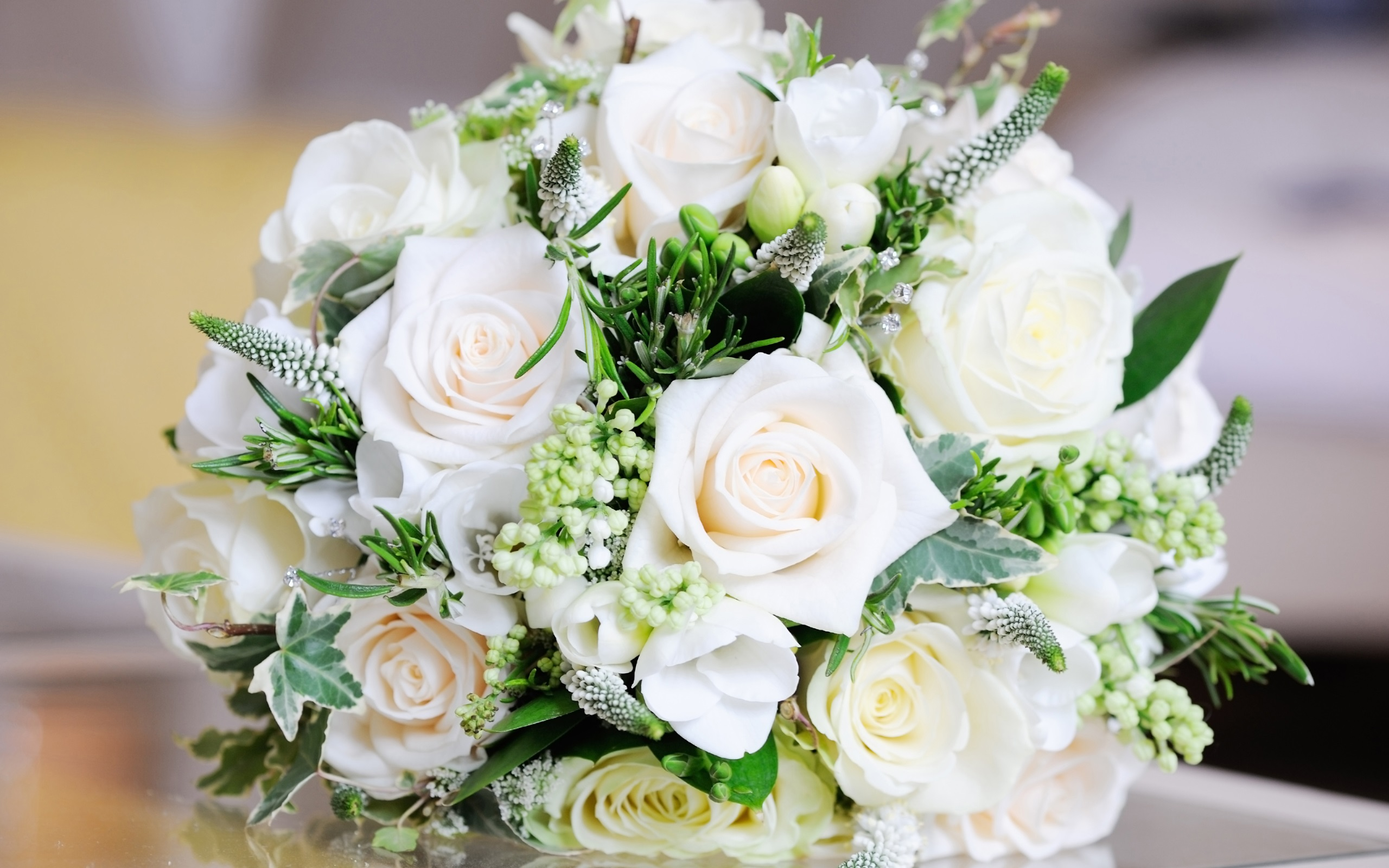 Wallpaper White Bouquet Rose Flowers Leaves 2560x1600 Hd Picture