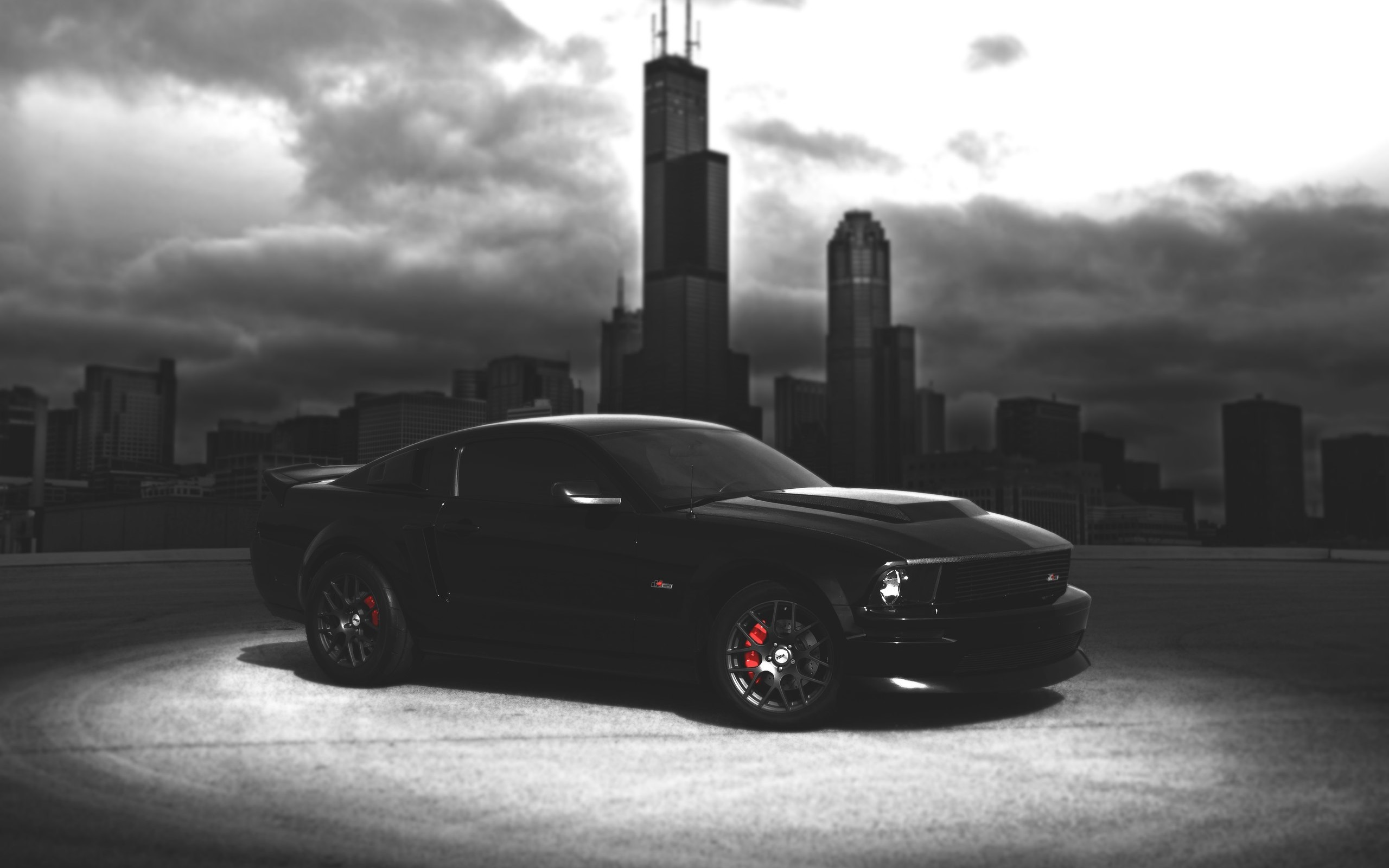 Wallpaper Ford Mustang Black Car Dark Night City 2560x1600 Hd