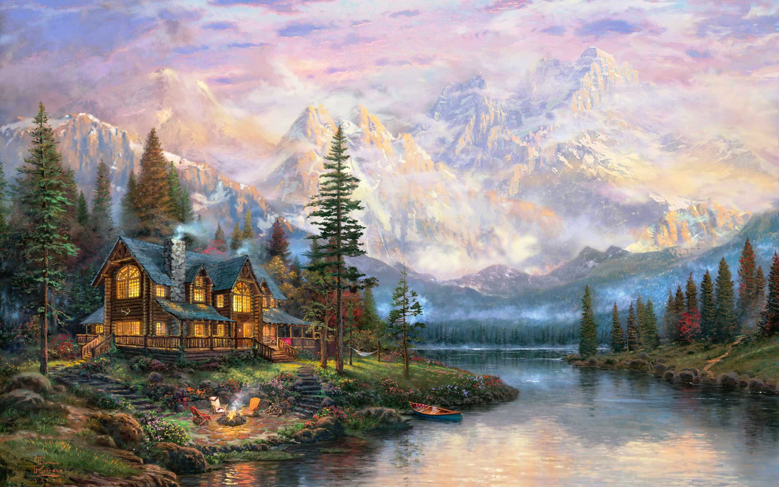Wallpaper Beautiful painting, mountains, river, house ...