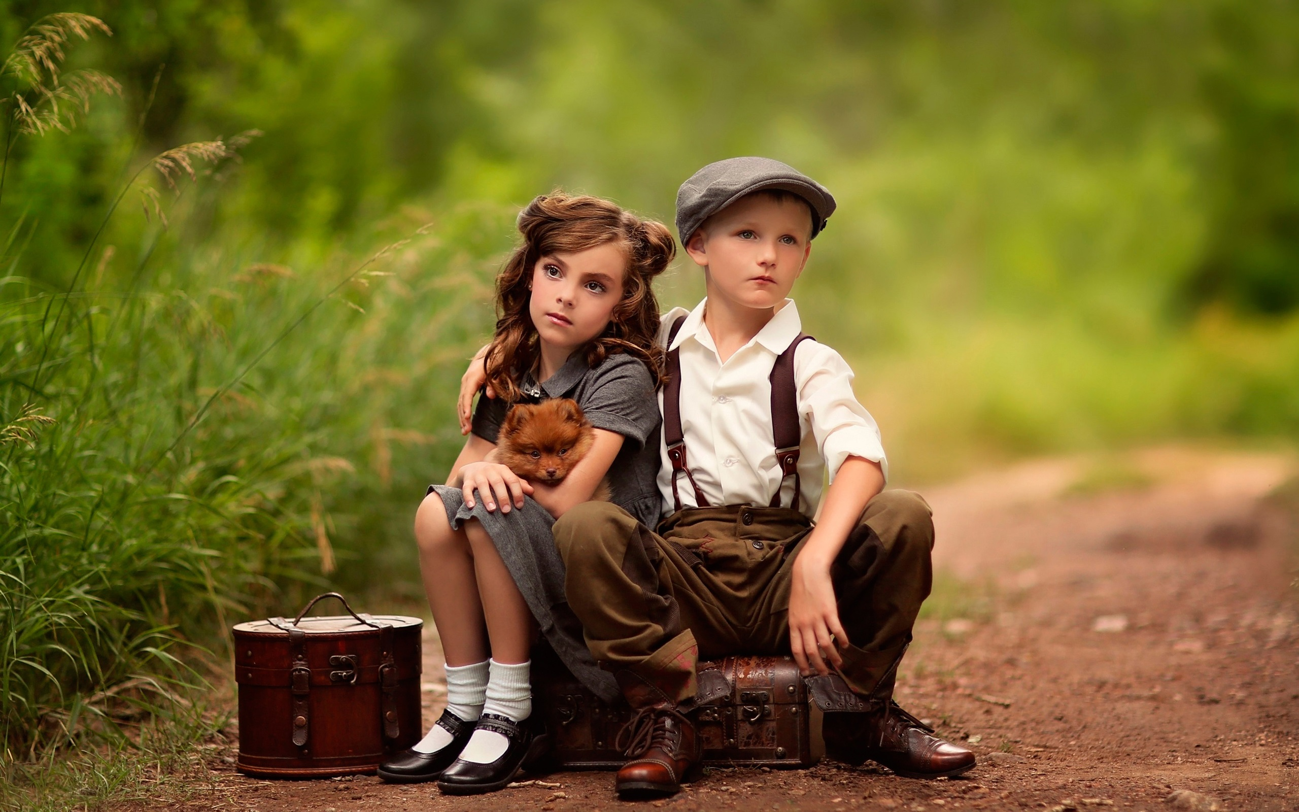 boy and girls wallpaper  Wallpaper Cute child, girl, boy, dog, suitcases, waiting 2560x1600 ...