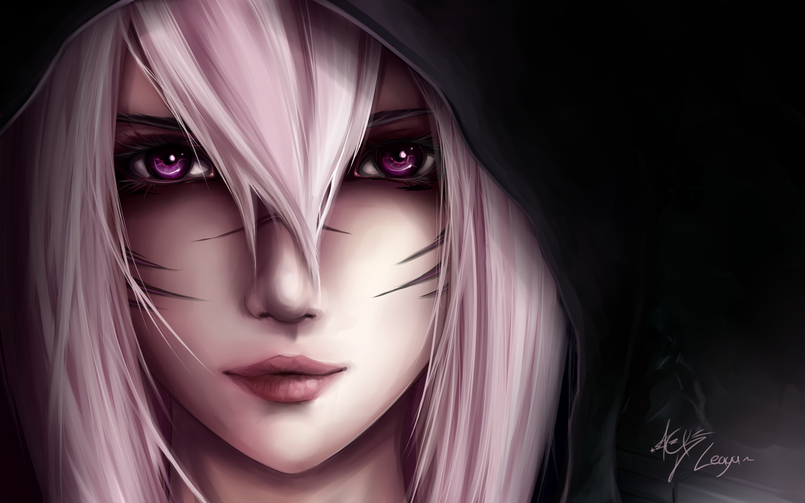 Wallpaper Art Picture Girl White Hair Black Background 2560x1600 Hd Picture Image