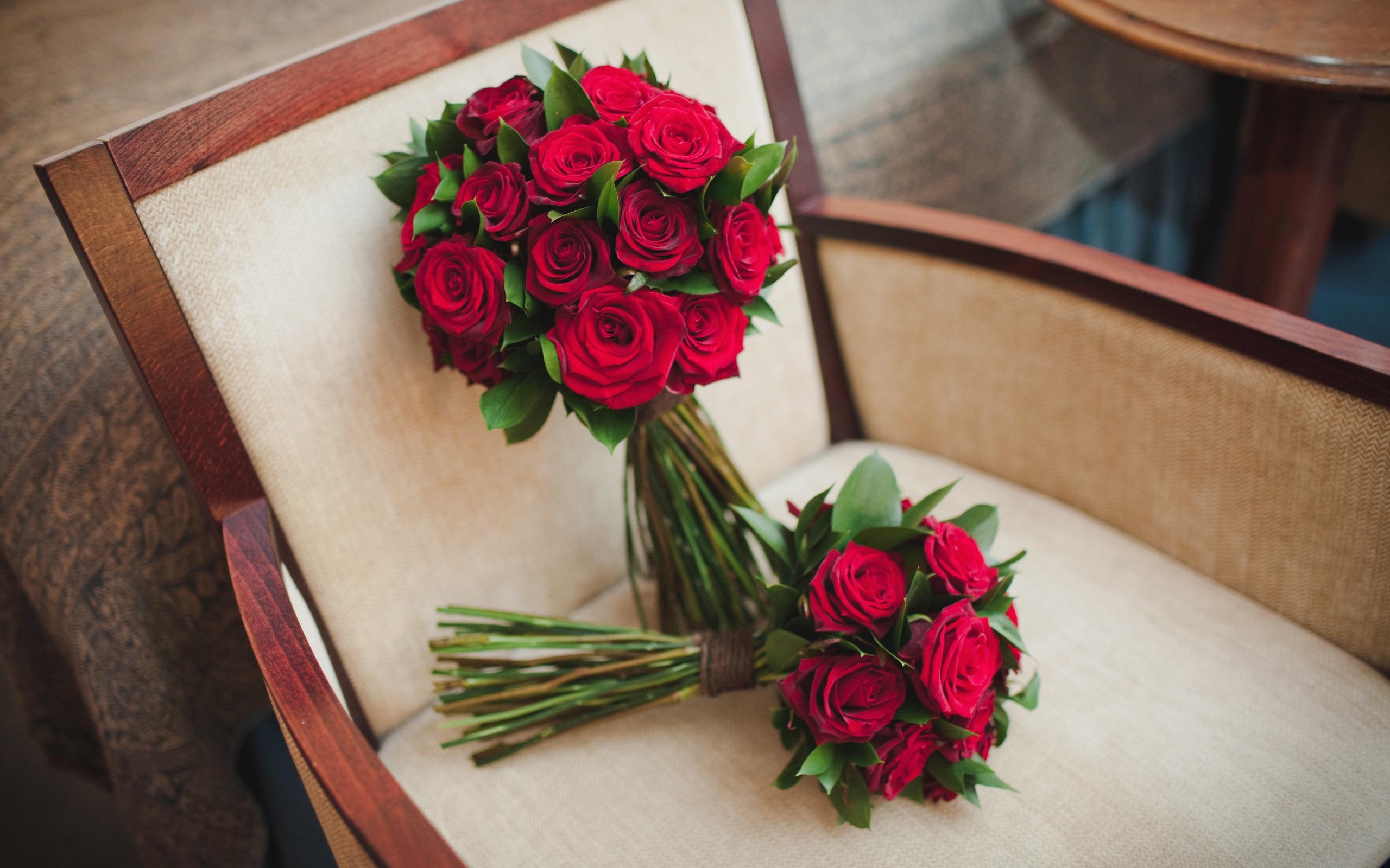 Wallpaper Bouquet Flowers Wedding Roses Chair 2560x1600