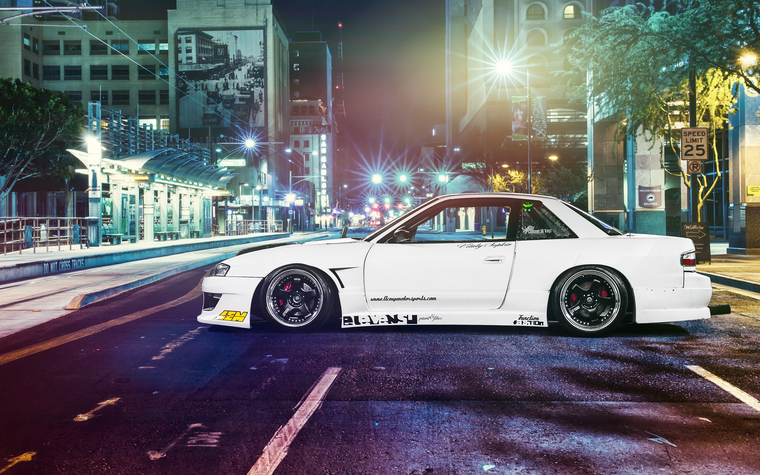 Wallpaper Nissan Silvia S13 Car Street Night 2560x1600 HD Picture