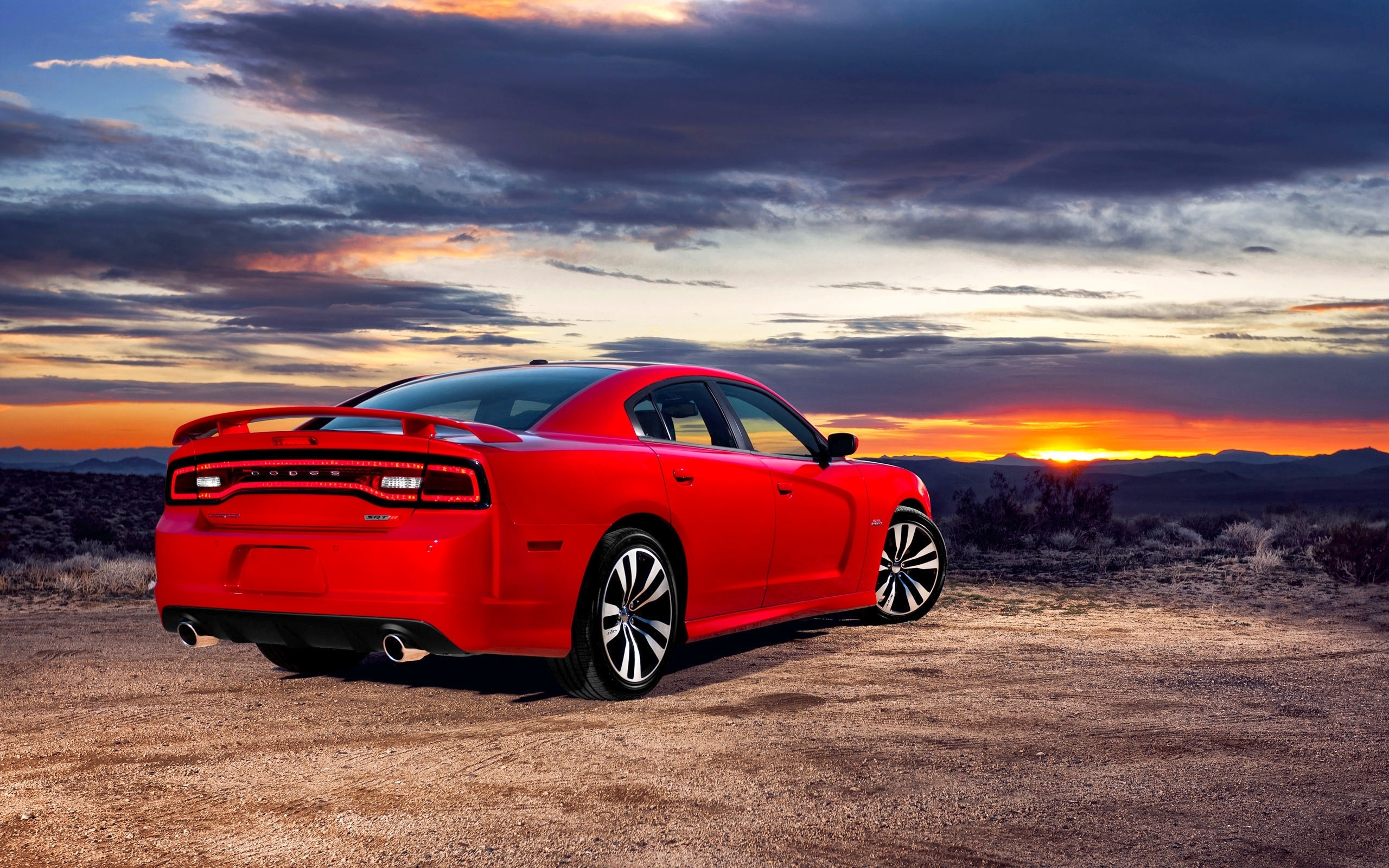 Wallpaper Red Dodge Car Back View 2560x1600 Hd Picture Image