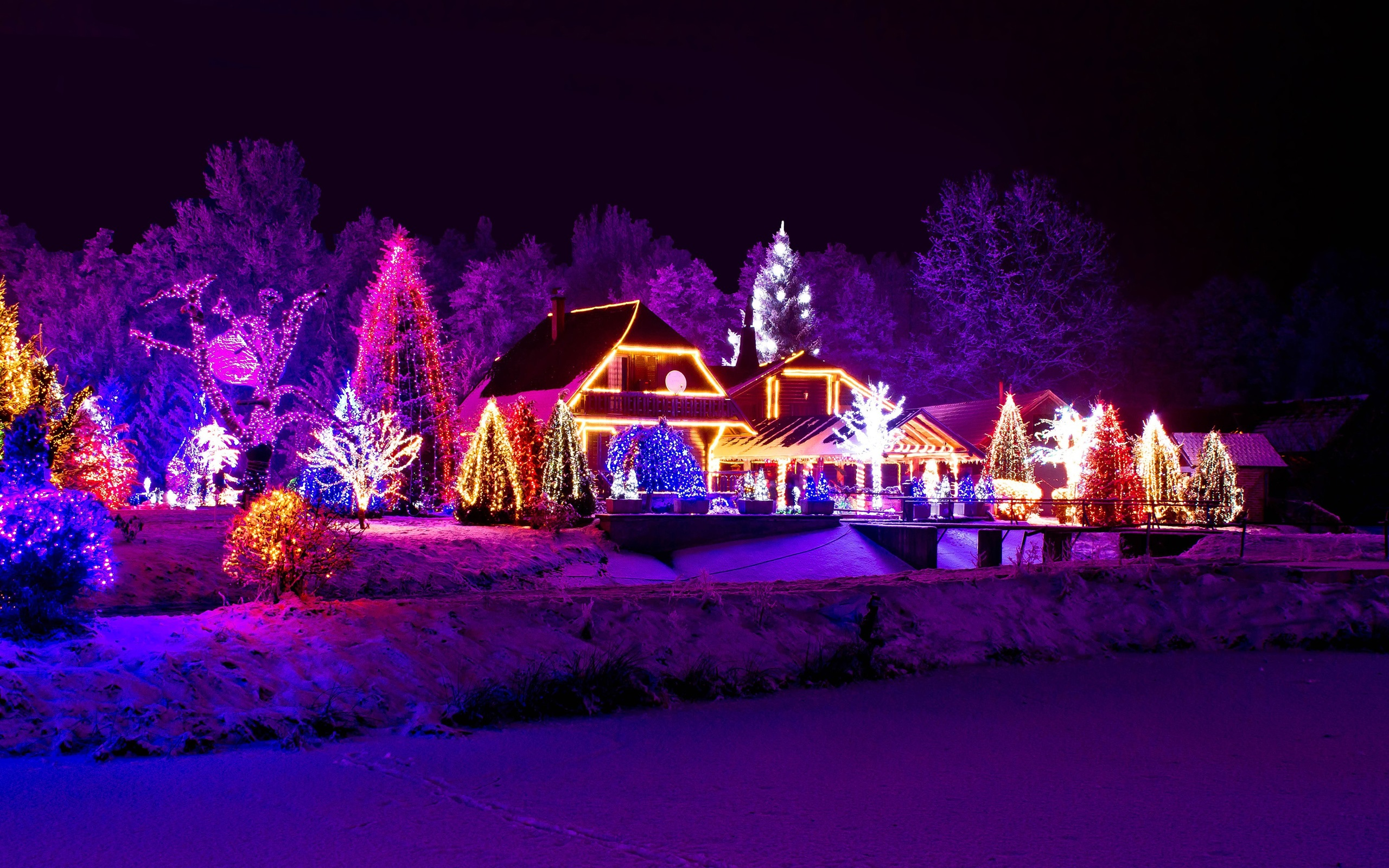 Wallpaper Winter, night, lights, new year, house, lake