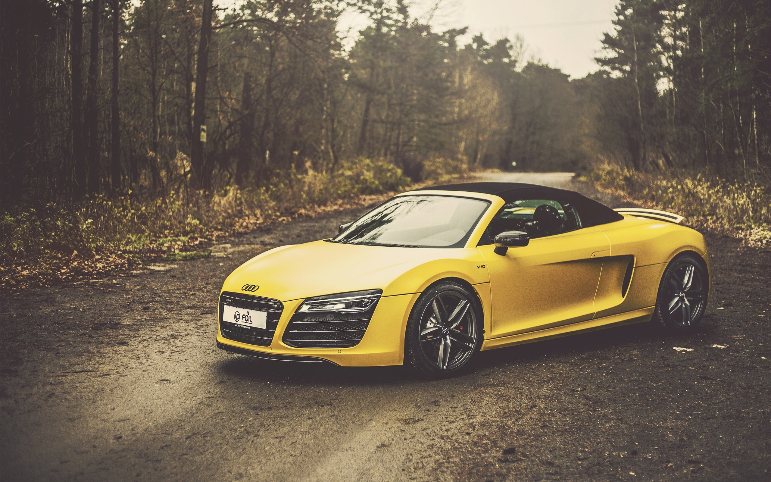 Wallpaper Audi R8 V10 Spyder Yellow Car 2560x1600 Hd Picture Image