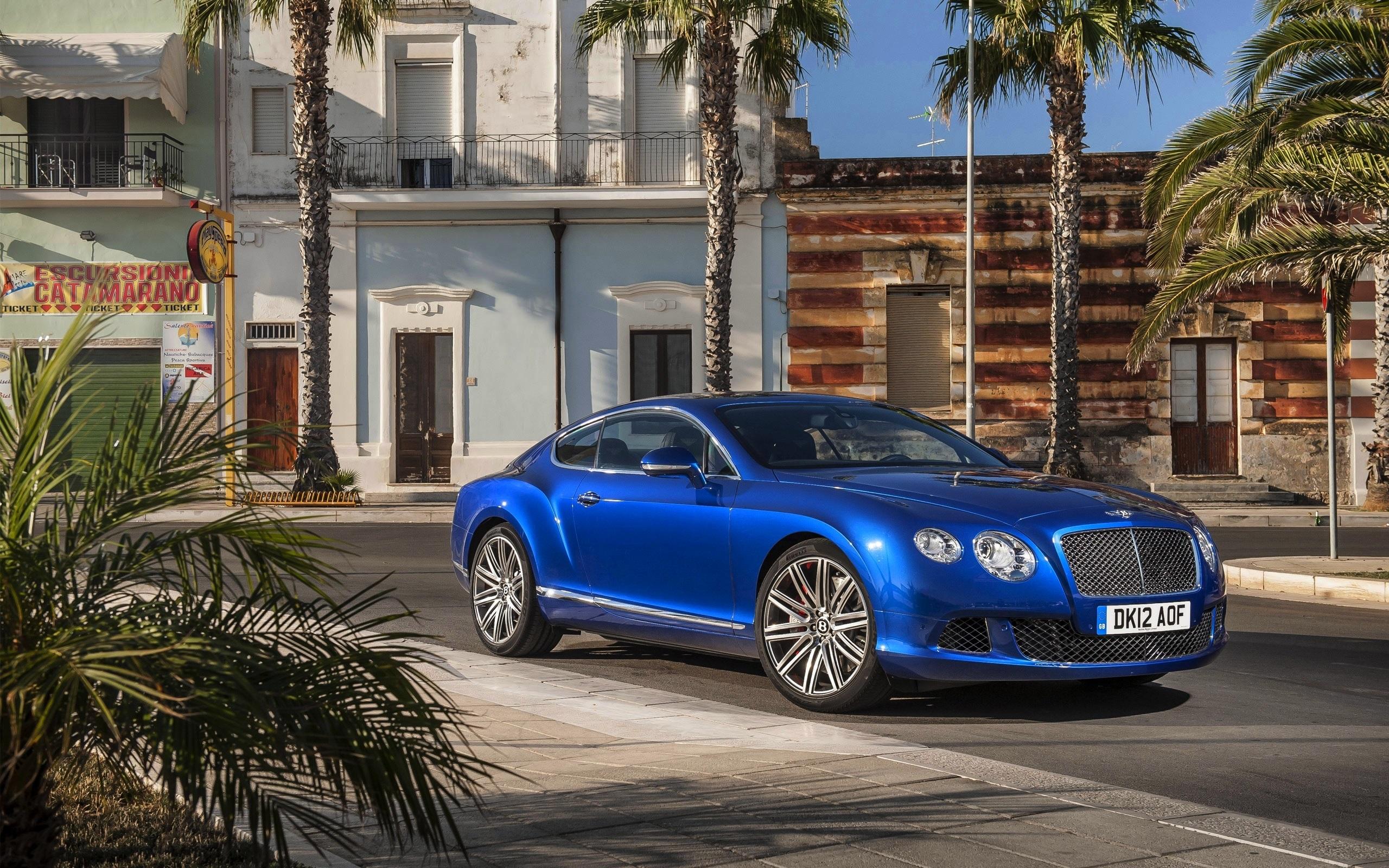Wallpaper Bentley Continental GT blue car, palm trees