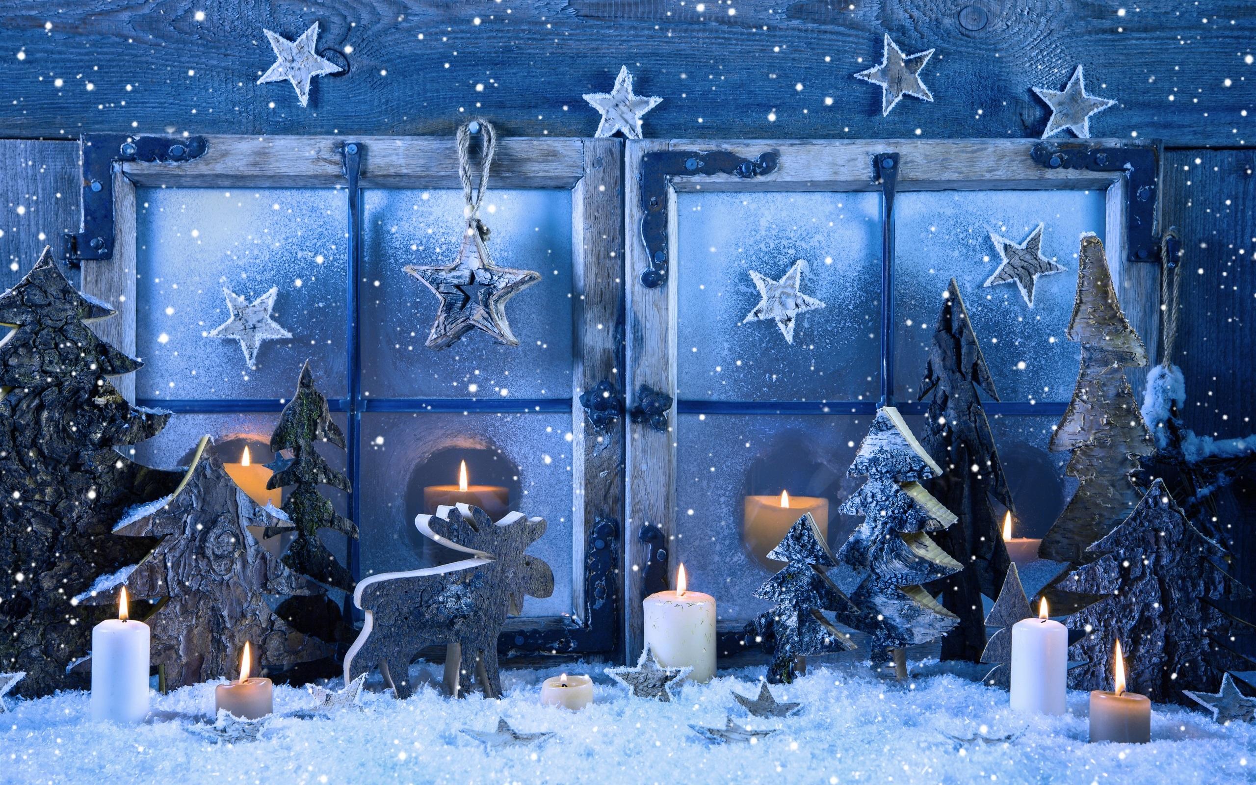 Frohe weihnachten fenster schneeflocken kerzen winter - Decoration de fenetre pour noel ...