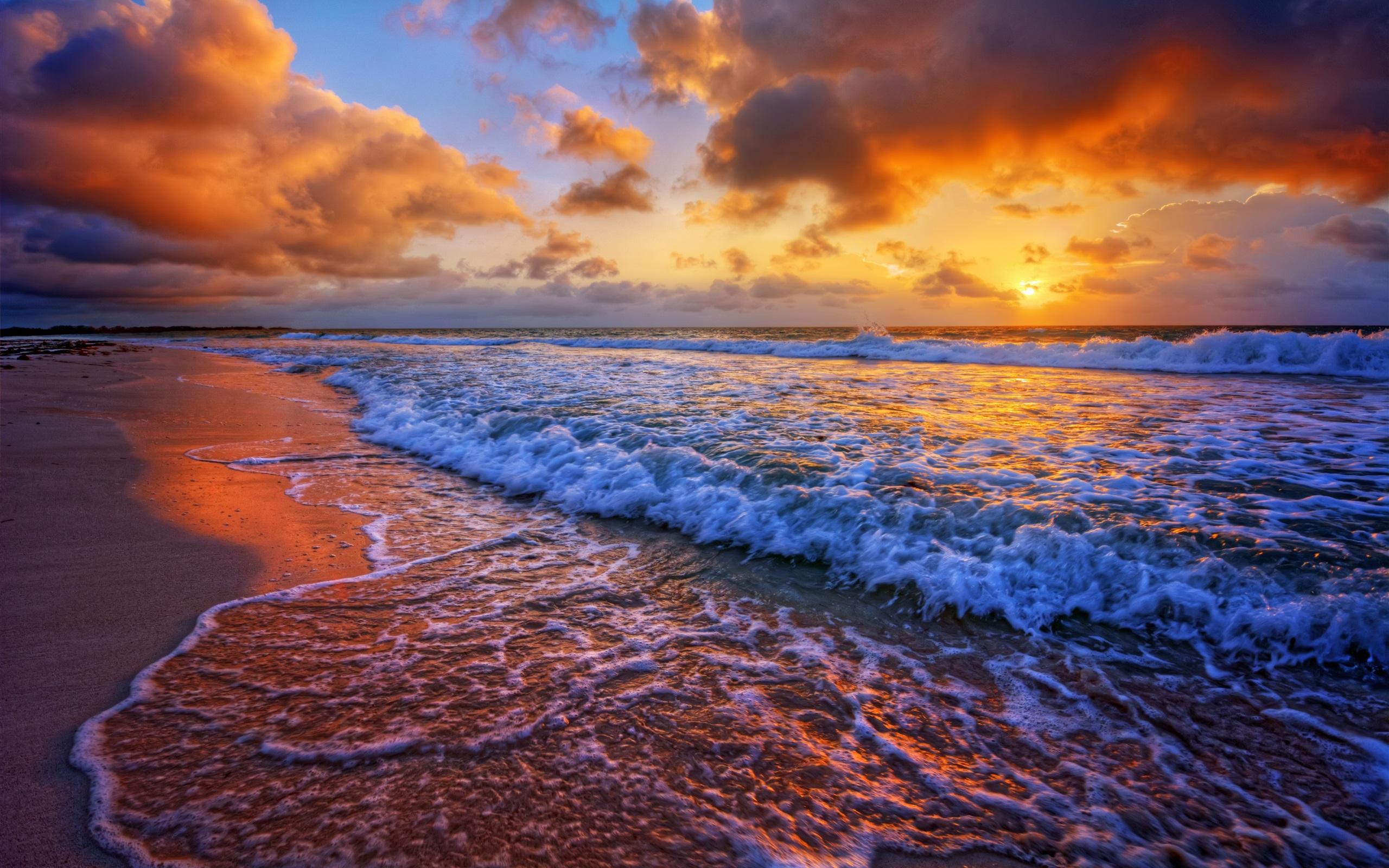 Papéis De Parede Do Por Do Sol, Mar, Costa, Surf, Ondas