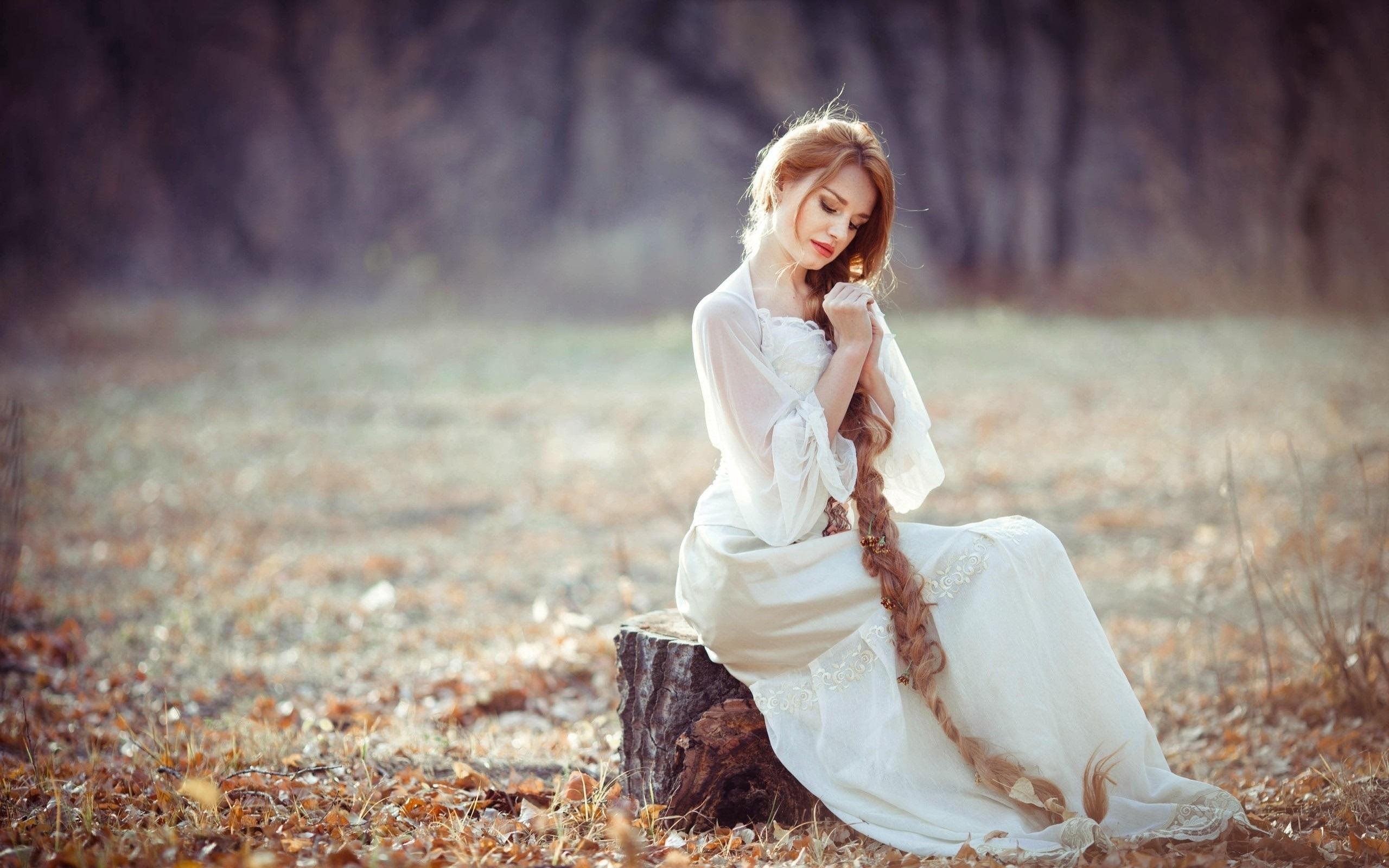 长头发的女孩,金发碧眼,树桩,秋季 壁纸 - 2560x1600图片