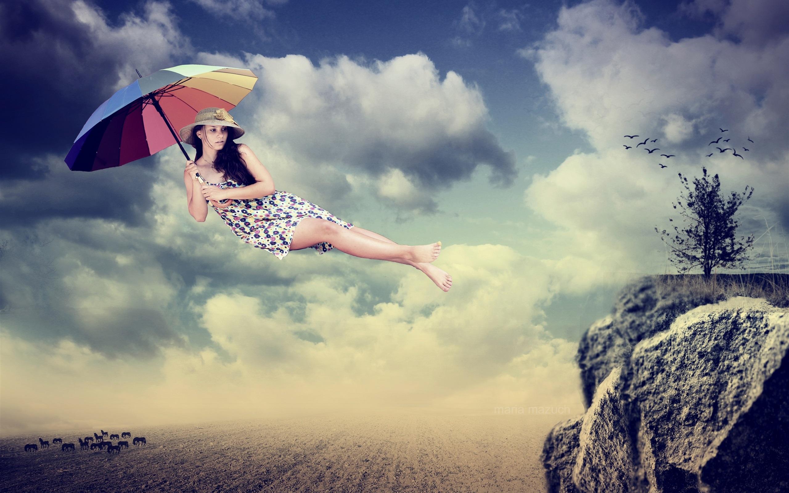 Картинки девушки летит