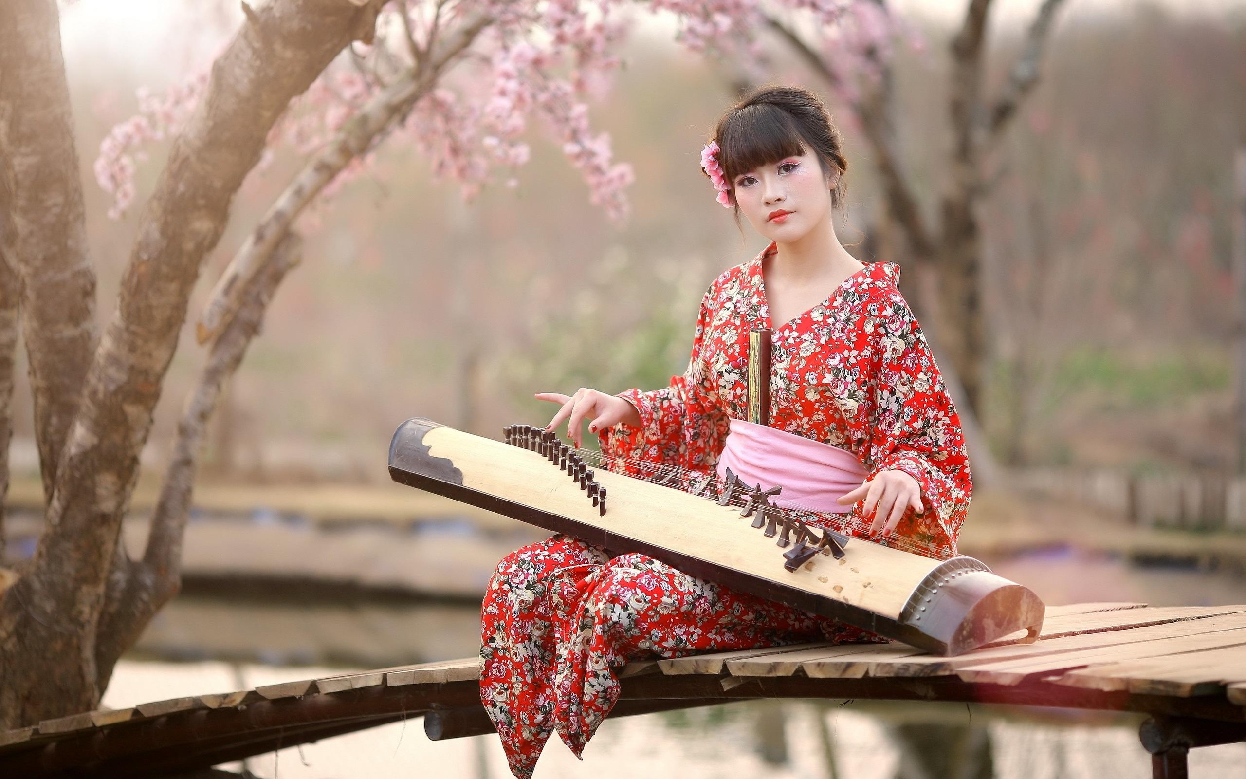 wallpaper japan, girl, kimono, music 2560x1600 hd picture, image