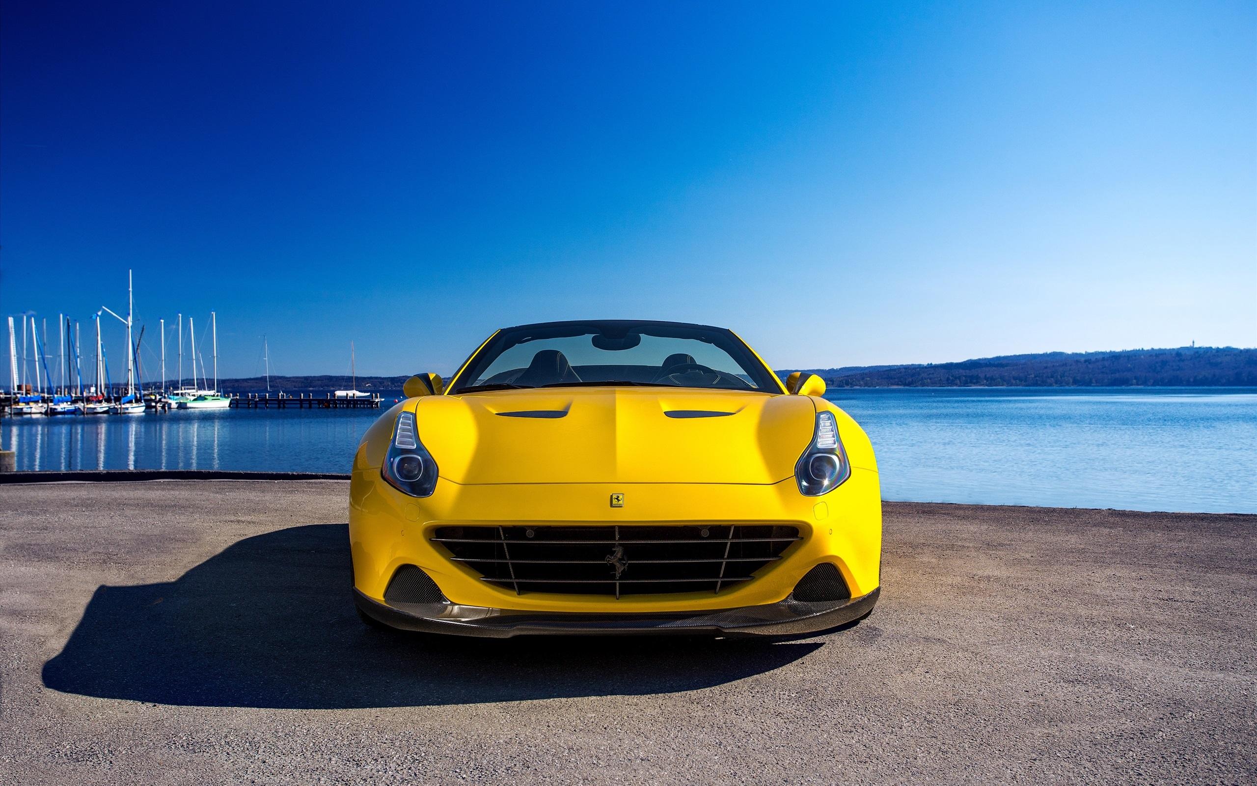 Wallpaper 2015 Pininfarina Ferrari California Yellow Supercar Front View 2560x1600 Hd Picture Image