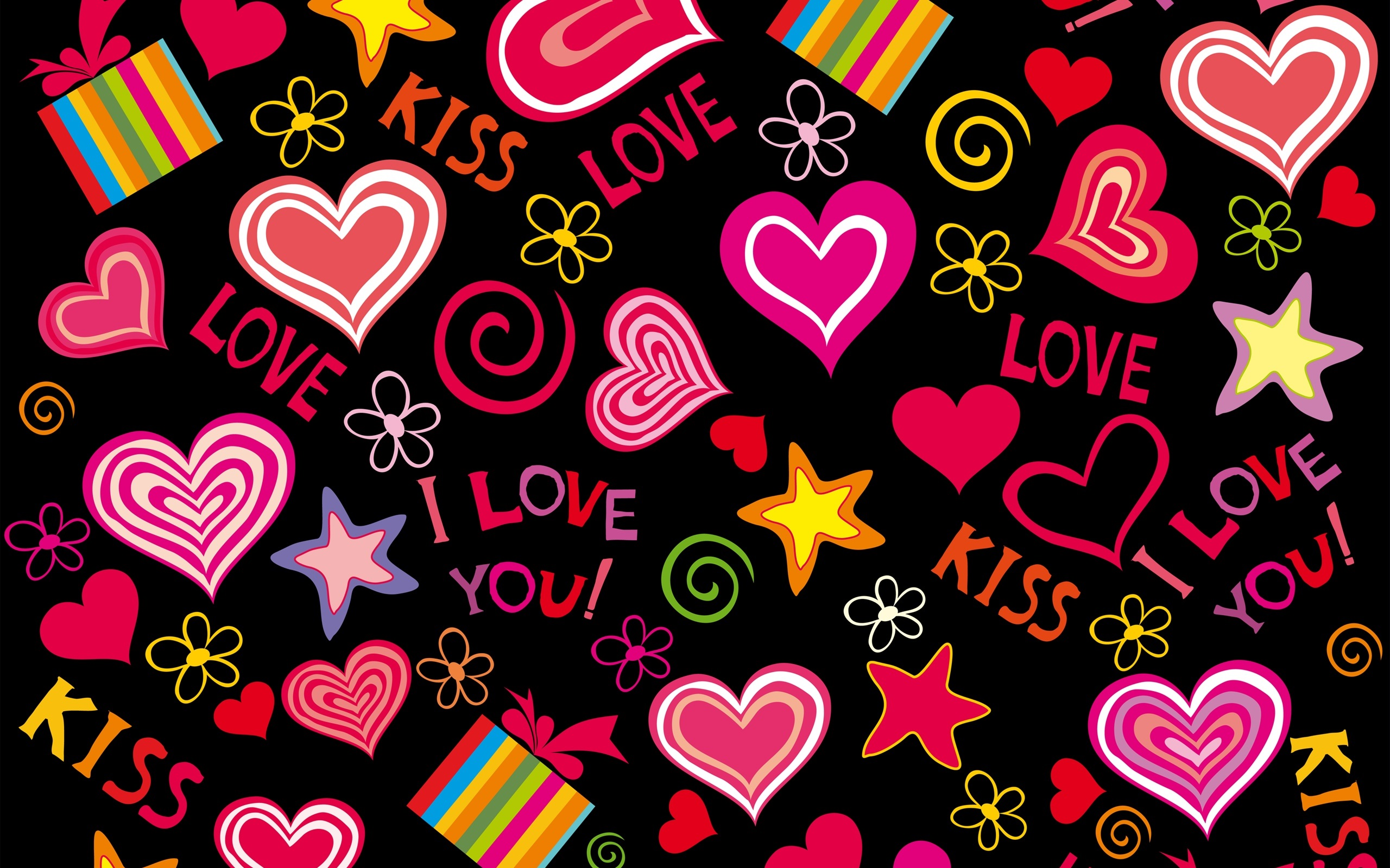 Love Wallpapers 2560x1600 : Download Wallpaper 2560x1600 Love hearts, vector, romantic, Valentine day HD Background