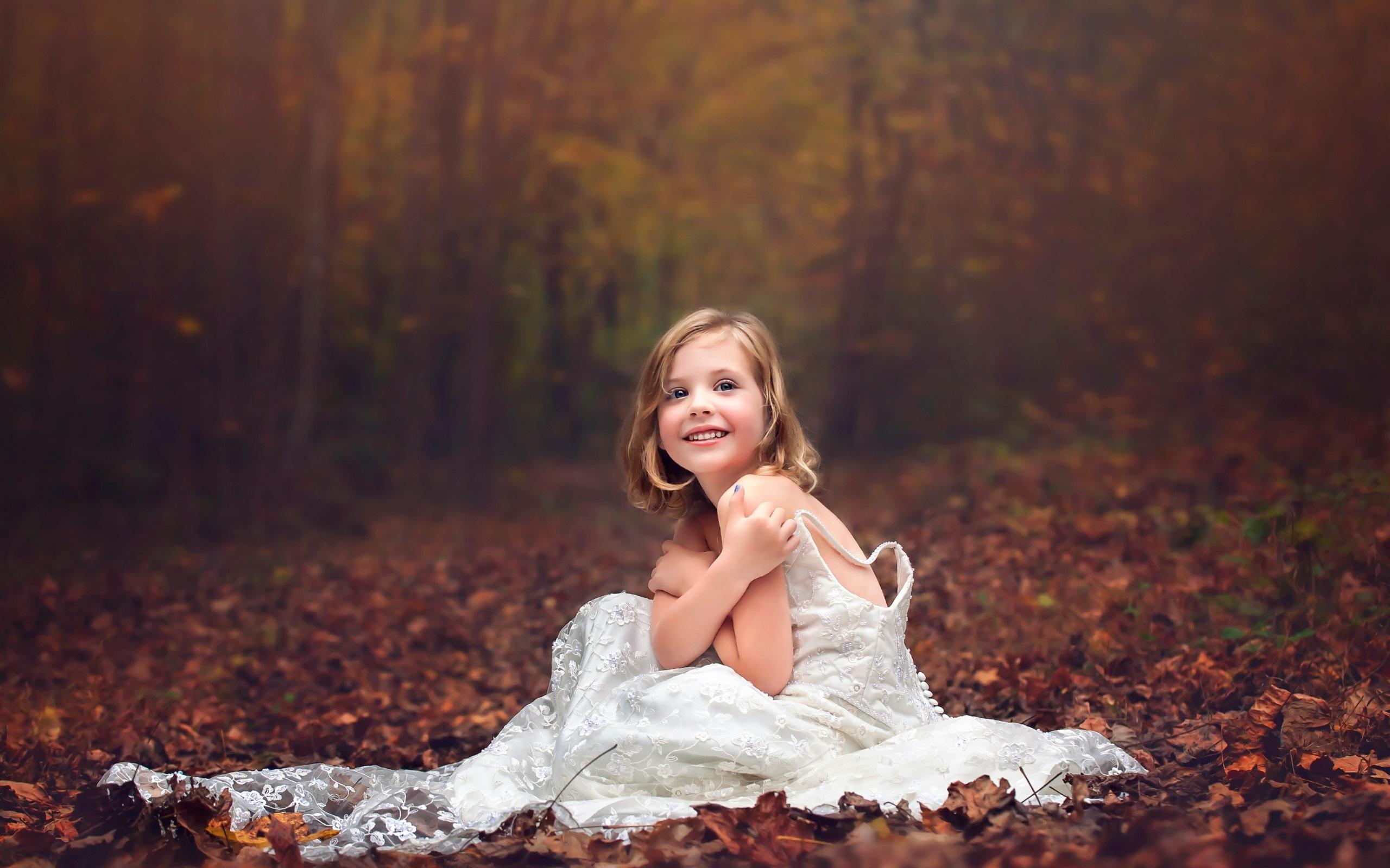 Wallpaper Wedding dress little girl, forest, autumn 2560x1600 HD ...