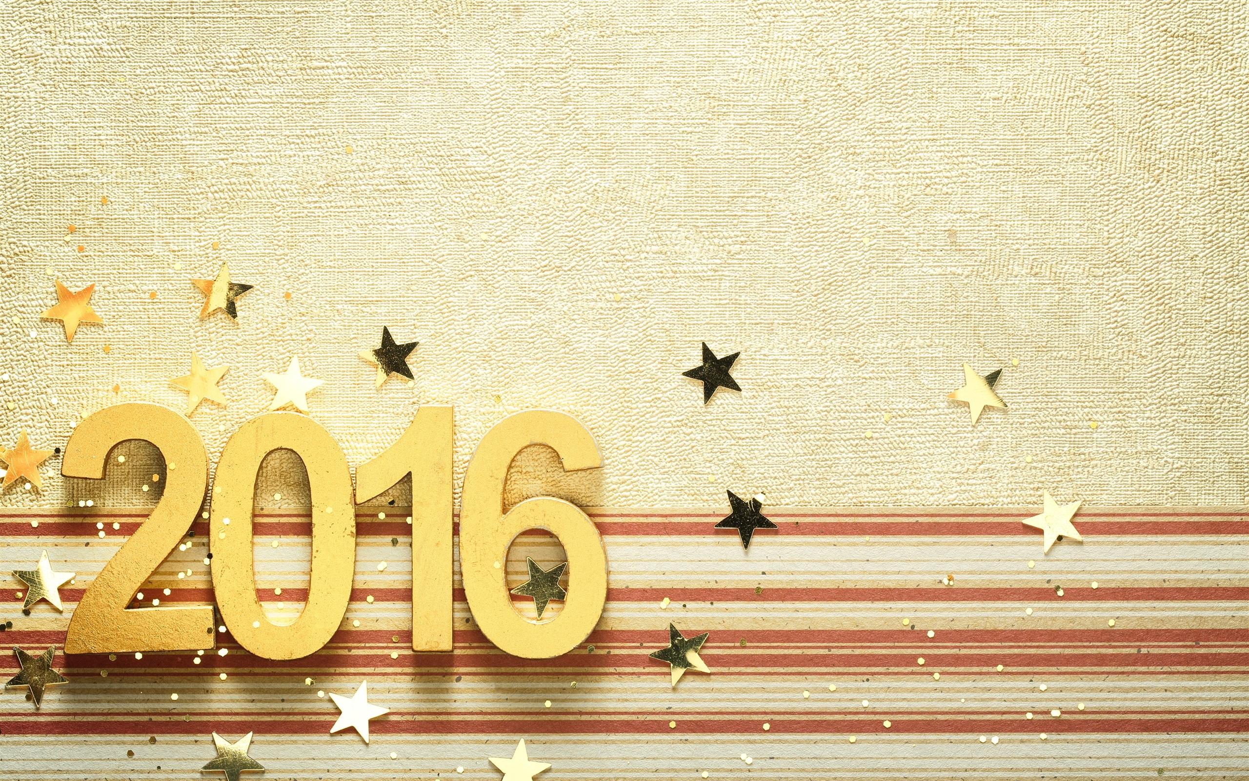 New Best Wallpapers 2016: 배경 화면 2016 해피 뉴 이어, 황금, 숫자, 별 2560x1600 HD 그림, 이미지