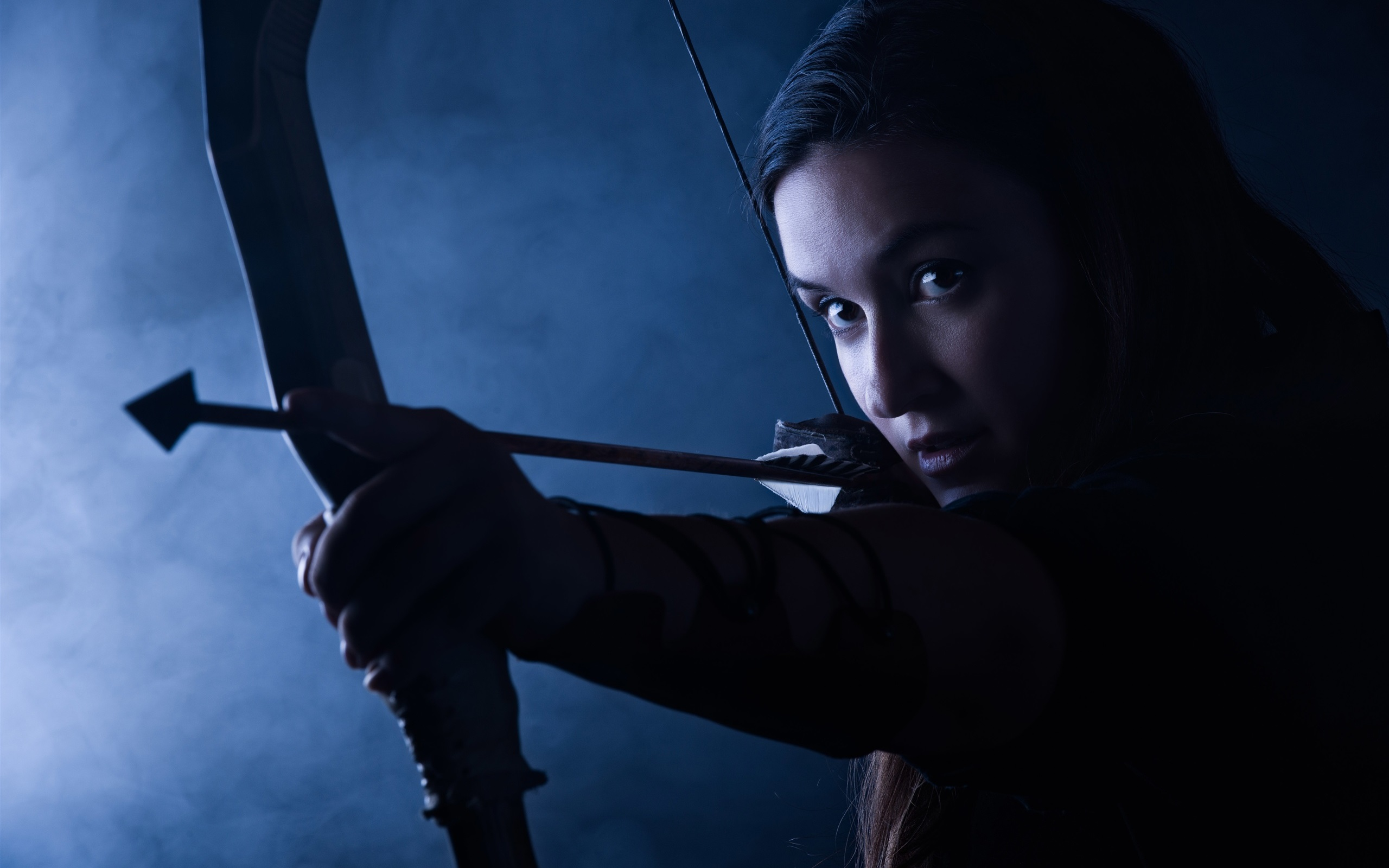 Wallpaper Beautiful Archer Girl Bow Arrow 2560x1600 HD Picture Image