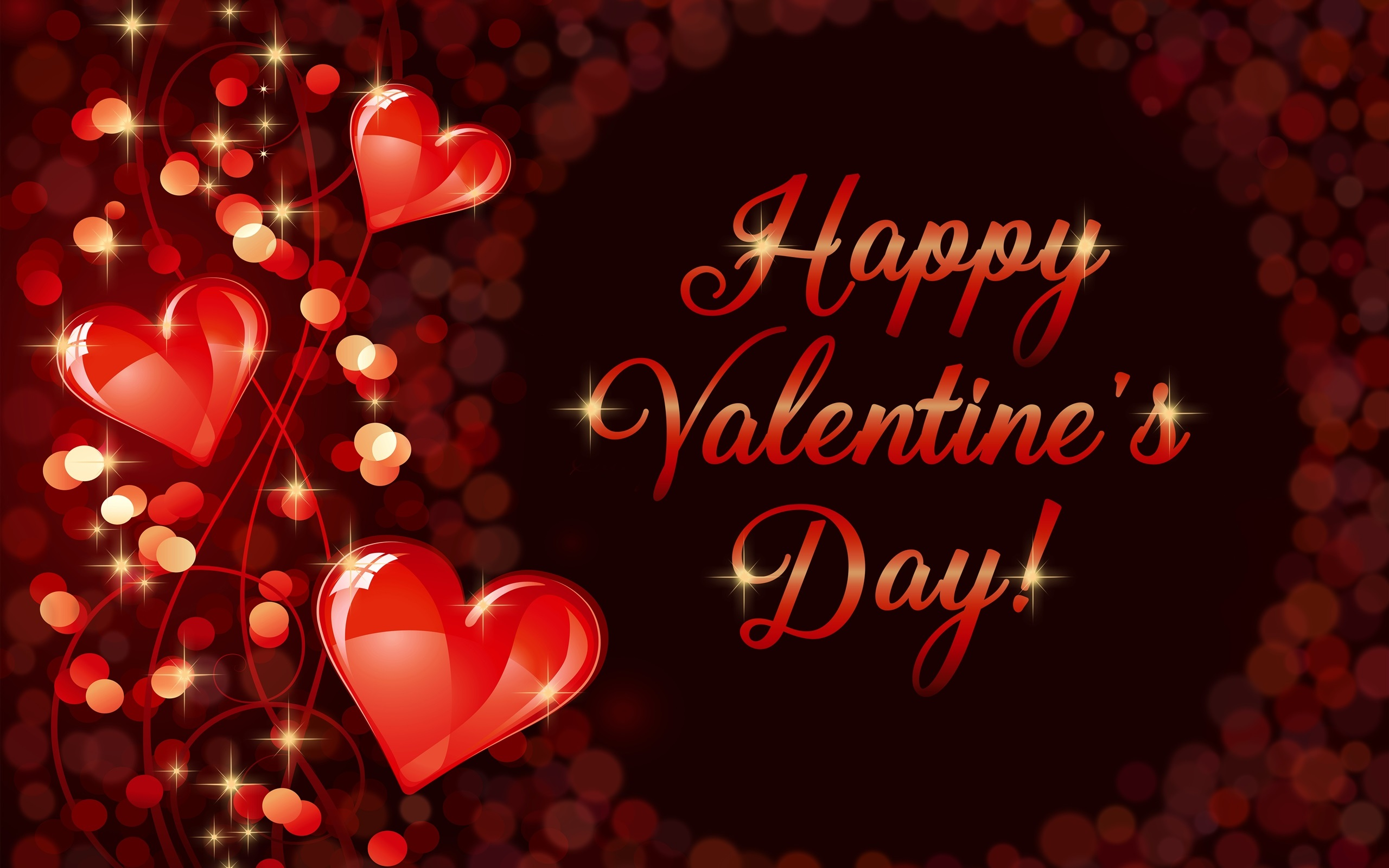 wallpaper happy valentine's day, romantic, love, hearts 2560x1600 hd