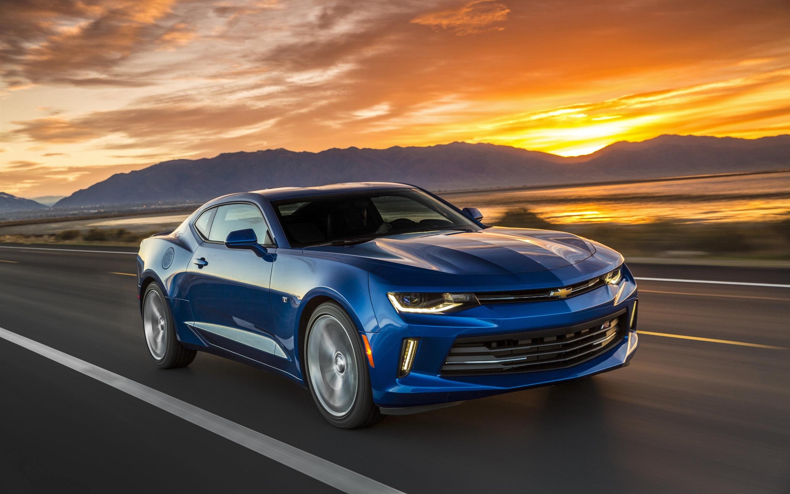 Wallpaper Chevrolet Camaro Blue Car Speed Sunset 2560x1600