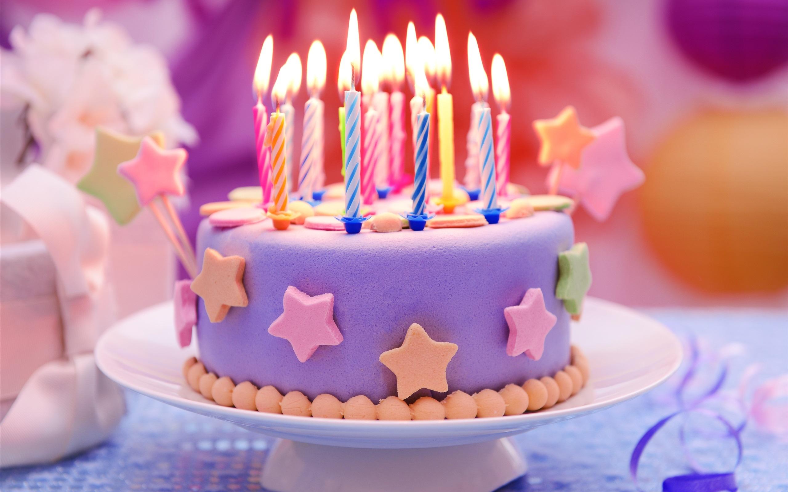 Happy Birthday Kuchen Kerzen Sternen 2560x1600 Hd