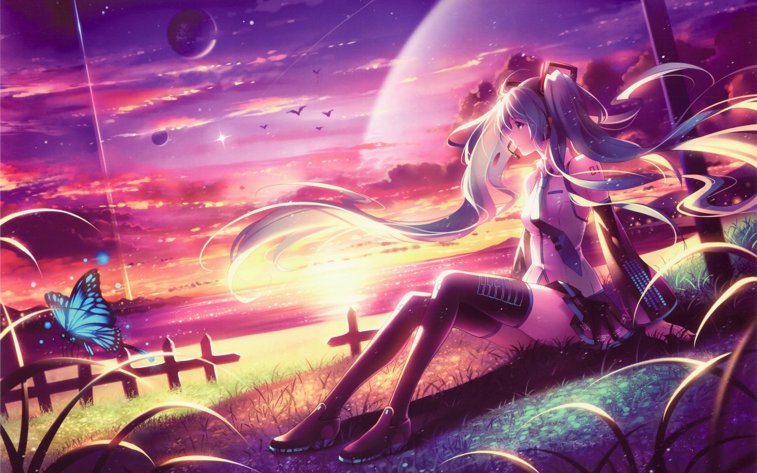 Wallpaper Hatsune Miku Long Hair Anime Girl Sitting At Beach