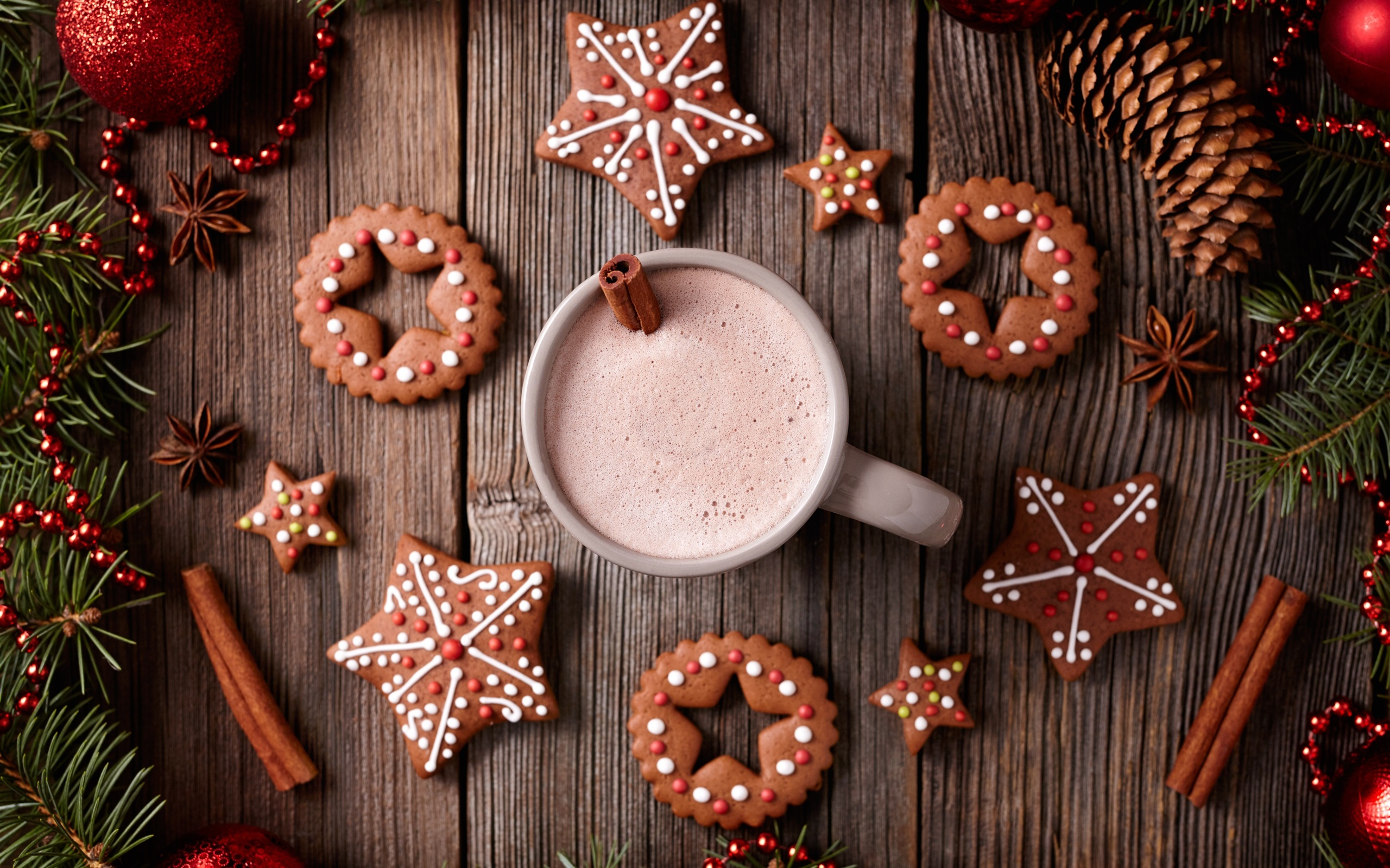 Wallpaper Merry Christmas Cookies Cup Drinks 2560x1600 Hd Picture Image