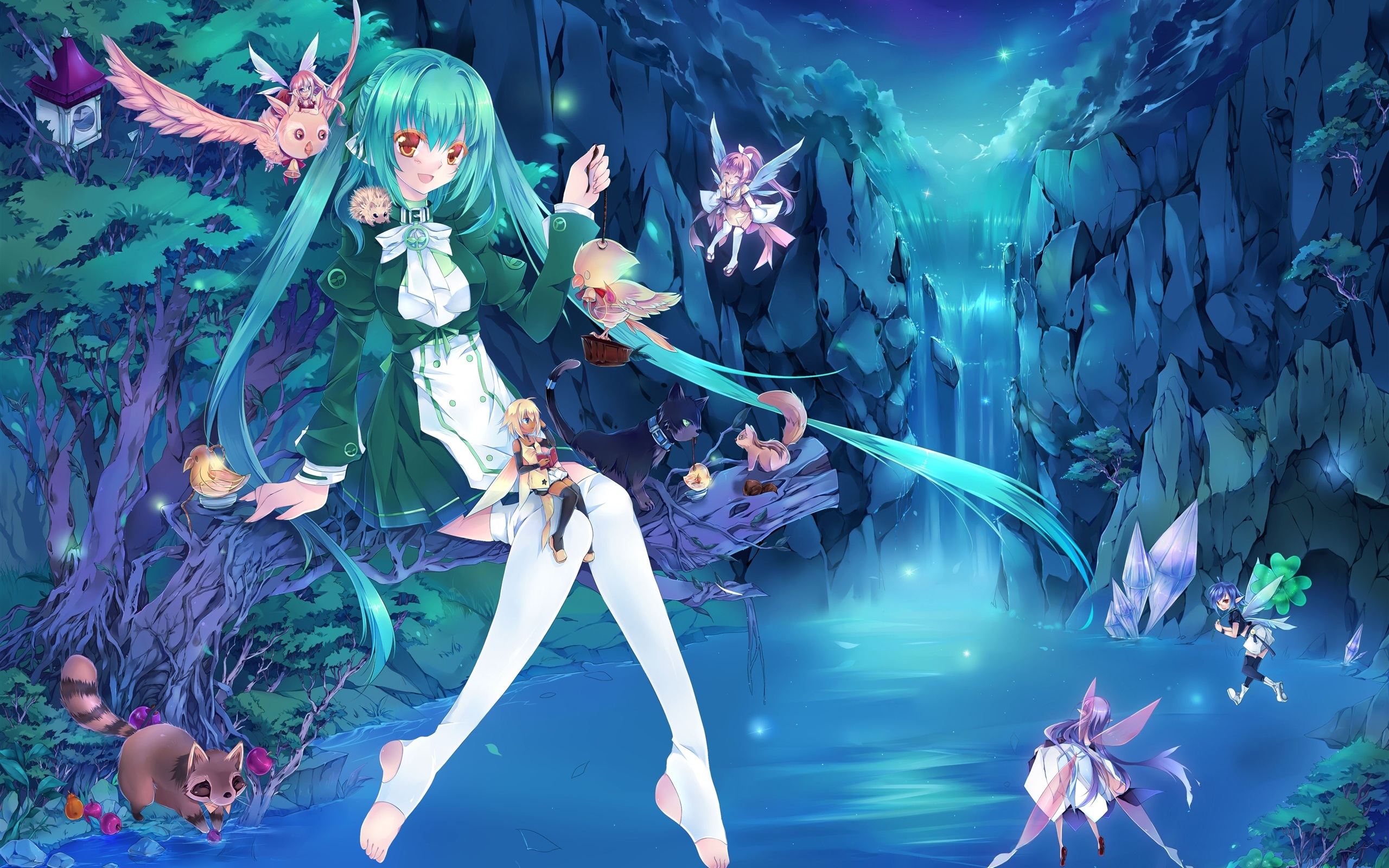 Wallpaper Blue Hair Anime Girl Fairies Waterfall Light