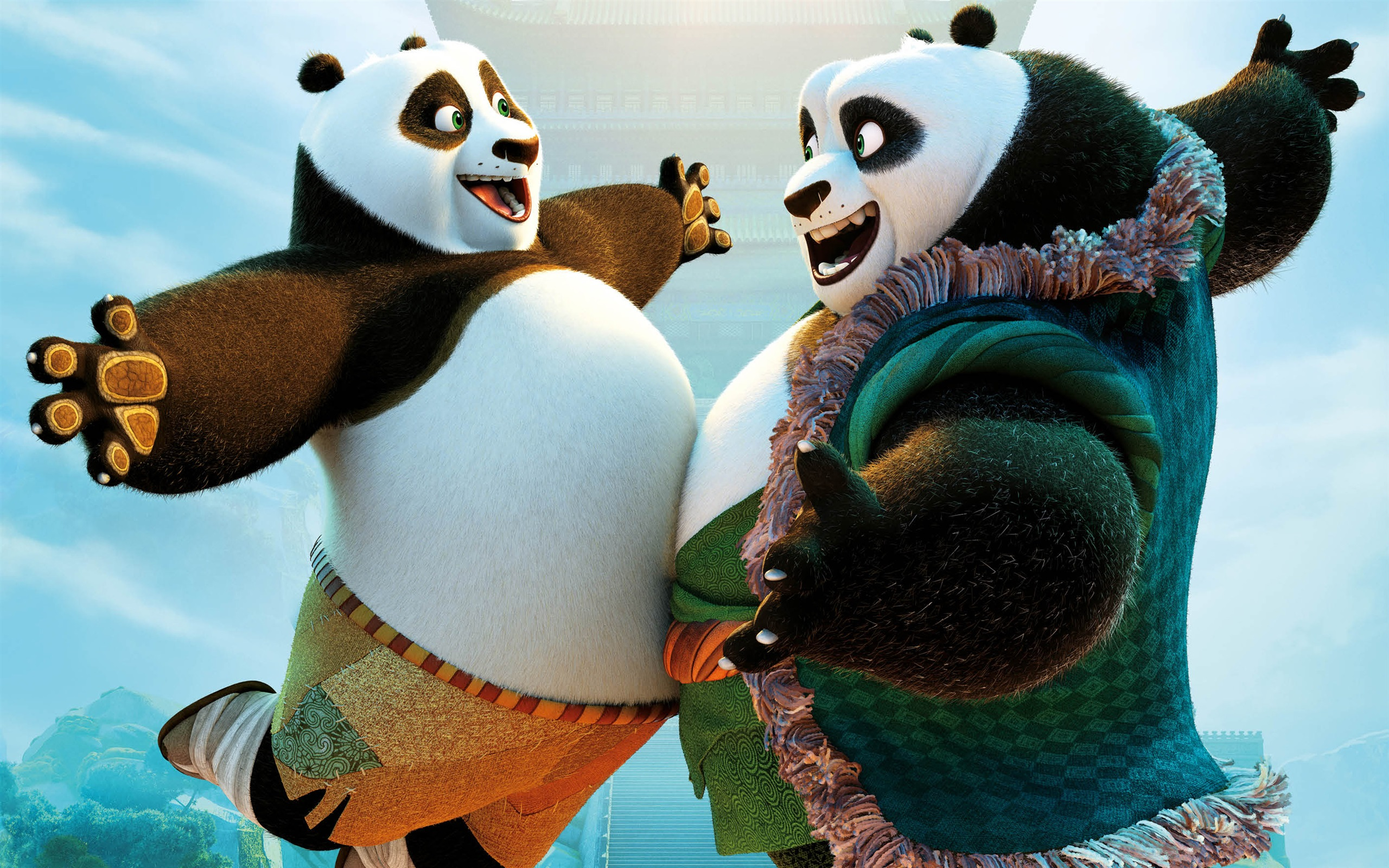 Wallpaper Kung Fu Panda 3 Po And His Father 2560x1600 Hd Picture Image