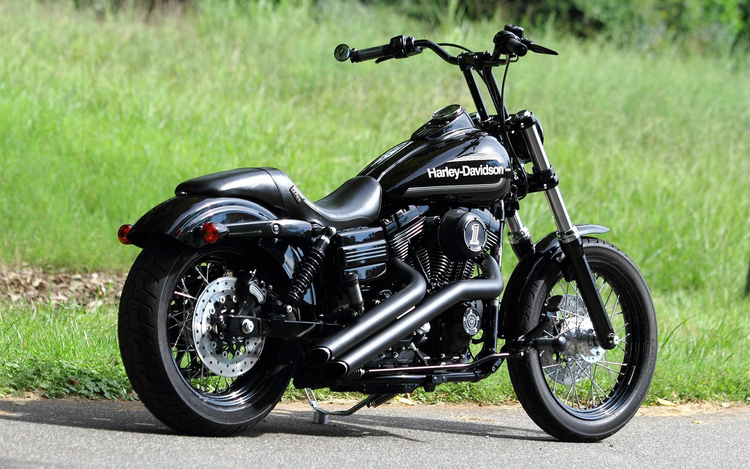 Wallpaper Harley Davidson Chopper Black Motorcycle 2560x1600 HD