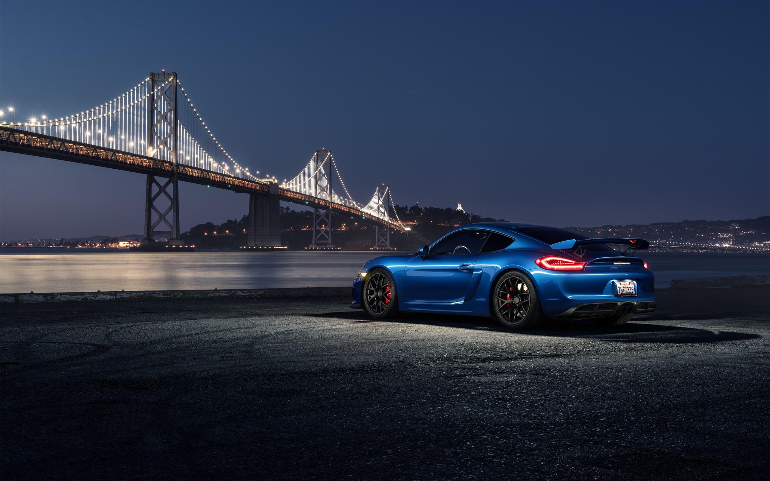 Wallpaper Porsche Cayman Gt4 Blue Car At Night 2560x1600 Hd Picture Image